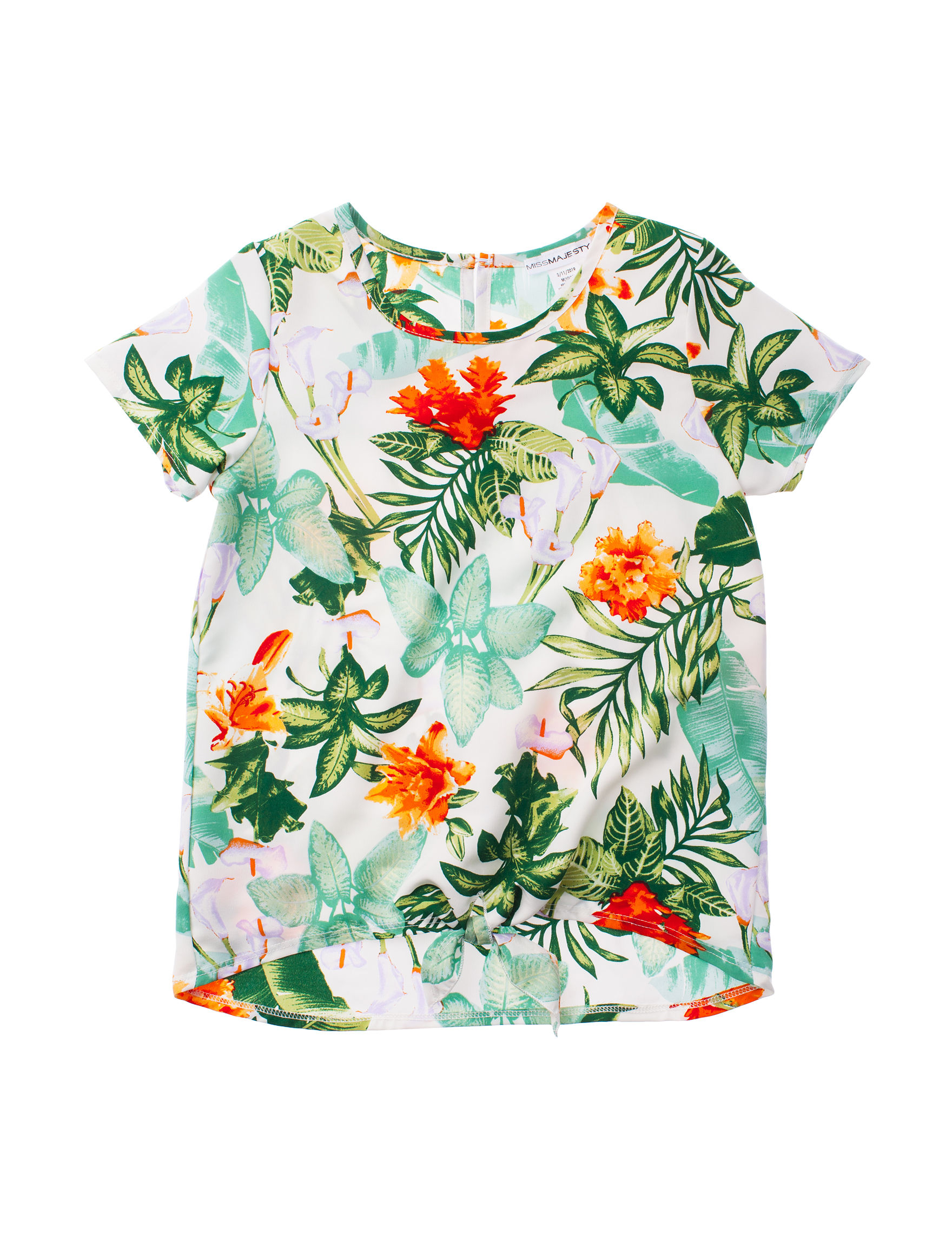 Miss Majesty White Floral Tees & Tanks