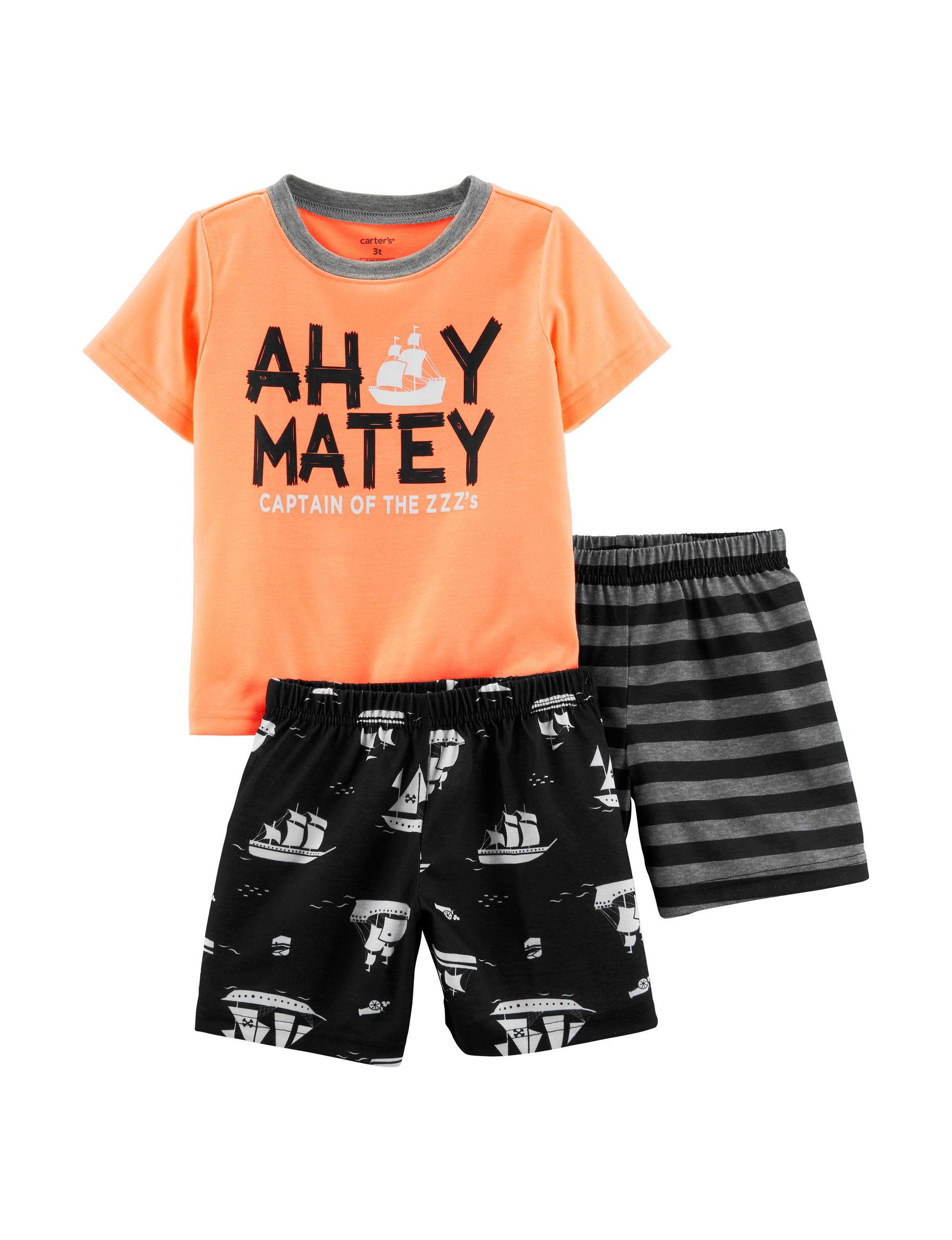 Carter's Orange / Black Pajama Sets