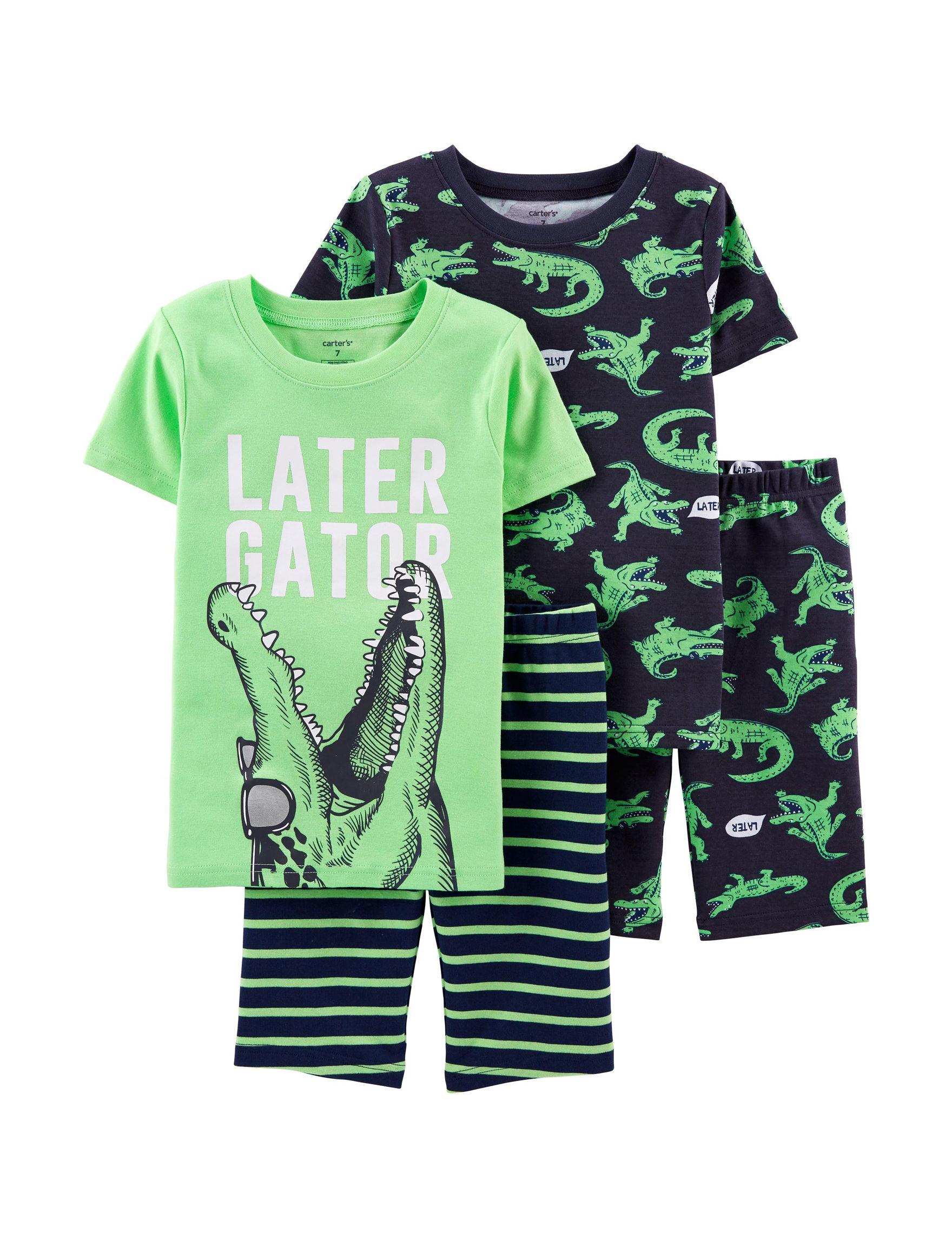 Carter's Green / Navy Pajama Sets