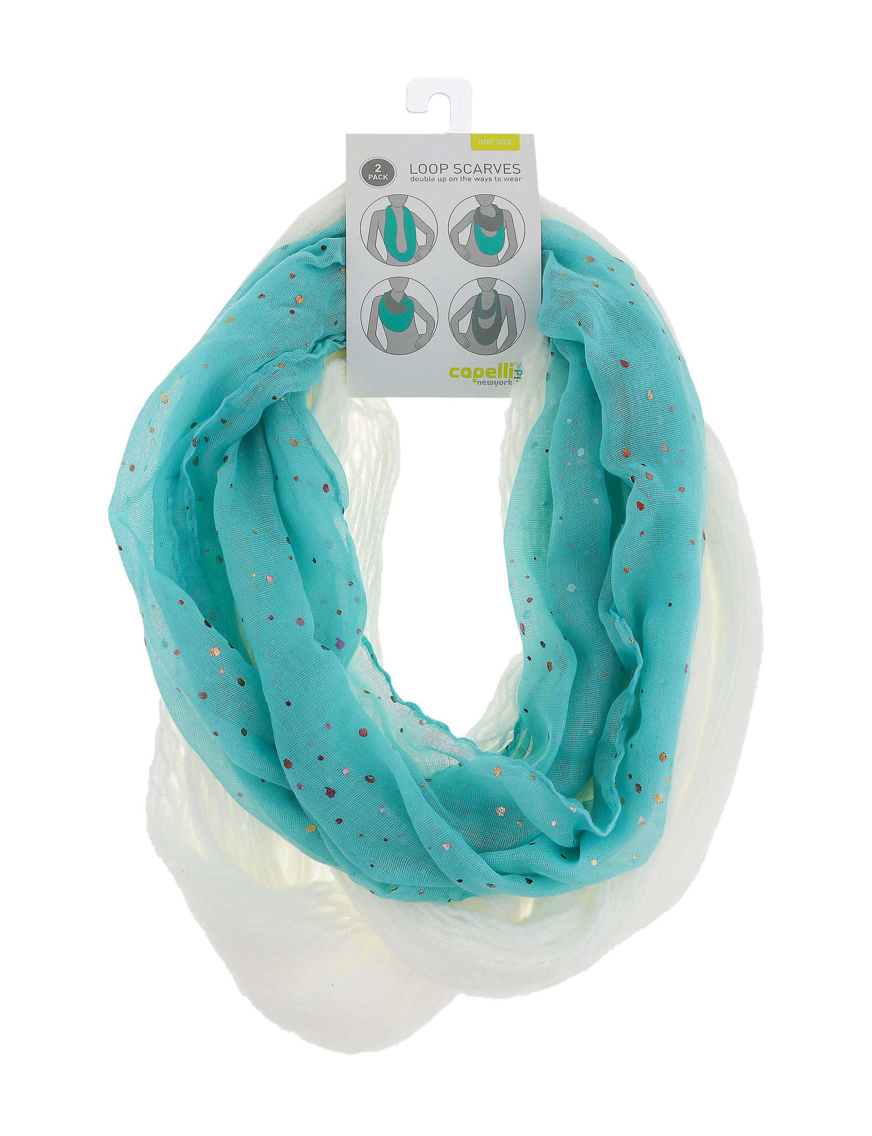 Capelli Turquoise / White Hats, Gloves & Scarves