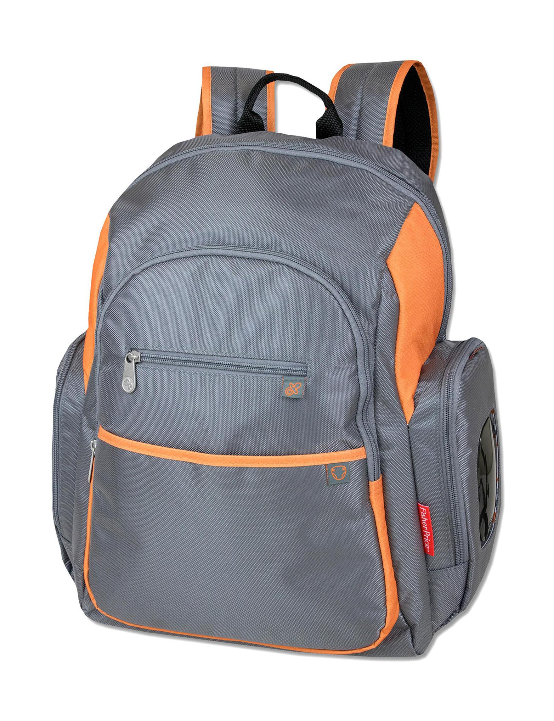 Baby Essentials Grey / Orange Diaper Bags