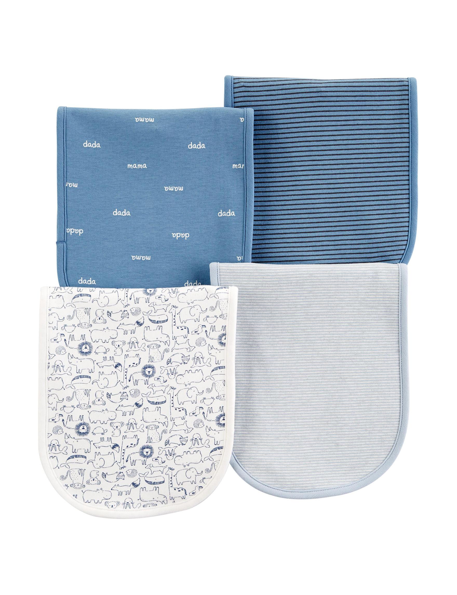 Carter's Blue Multi Bibs & Burp Cloths