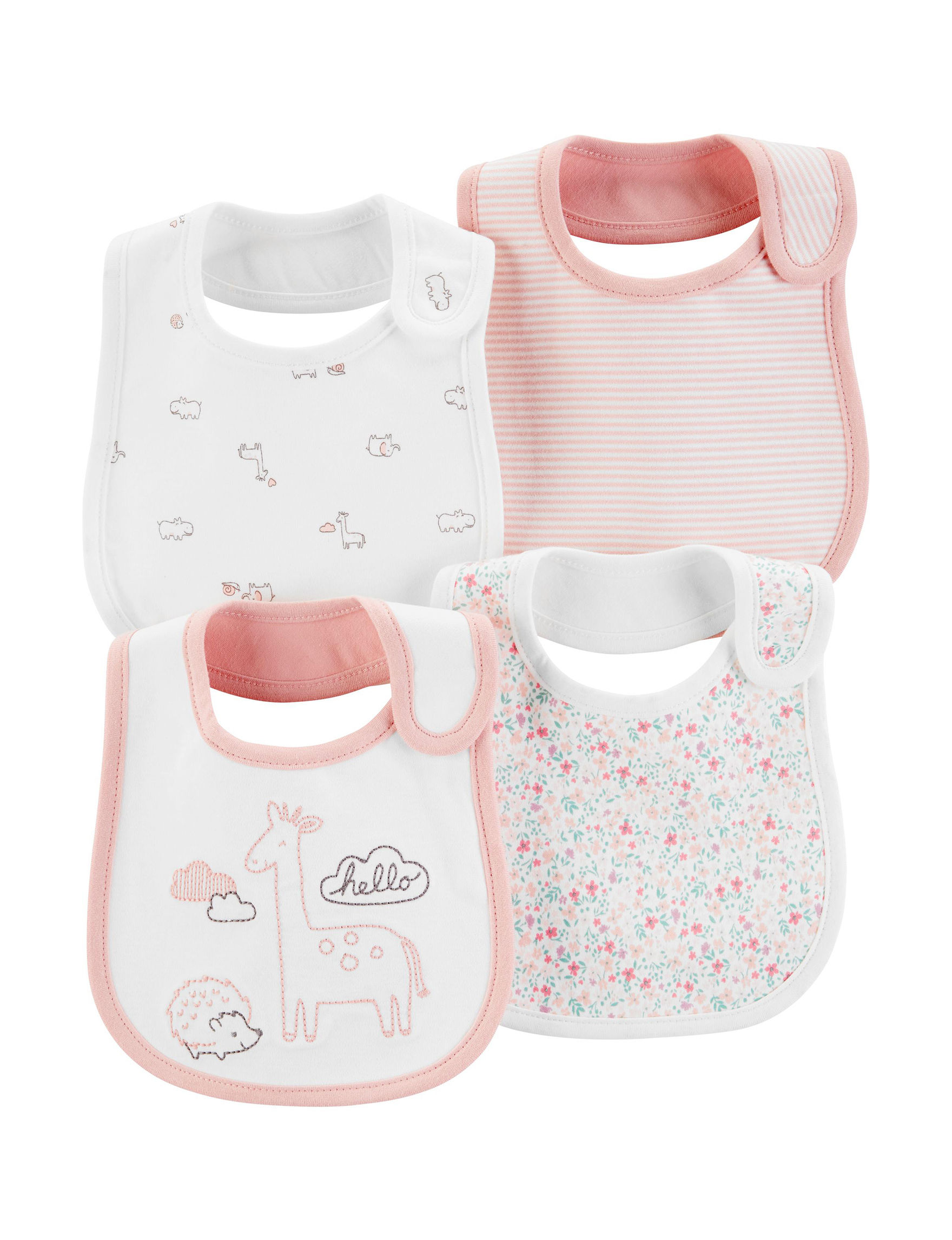 Carter's Pink / White Bibs & Burp Cloths