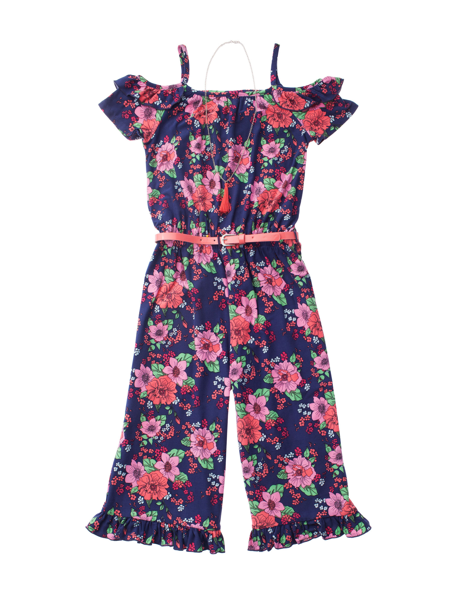 Satin Flowers Navy Floral