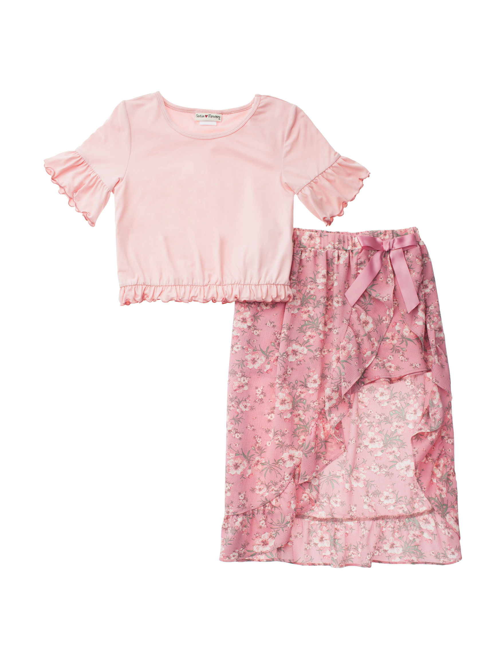 Satin Flowers Pink Floral
