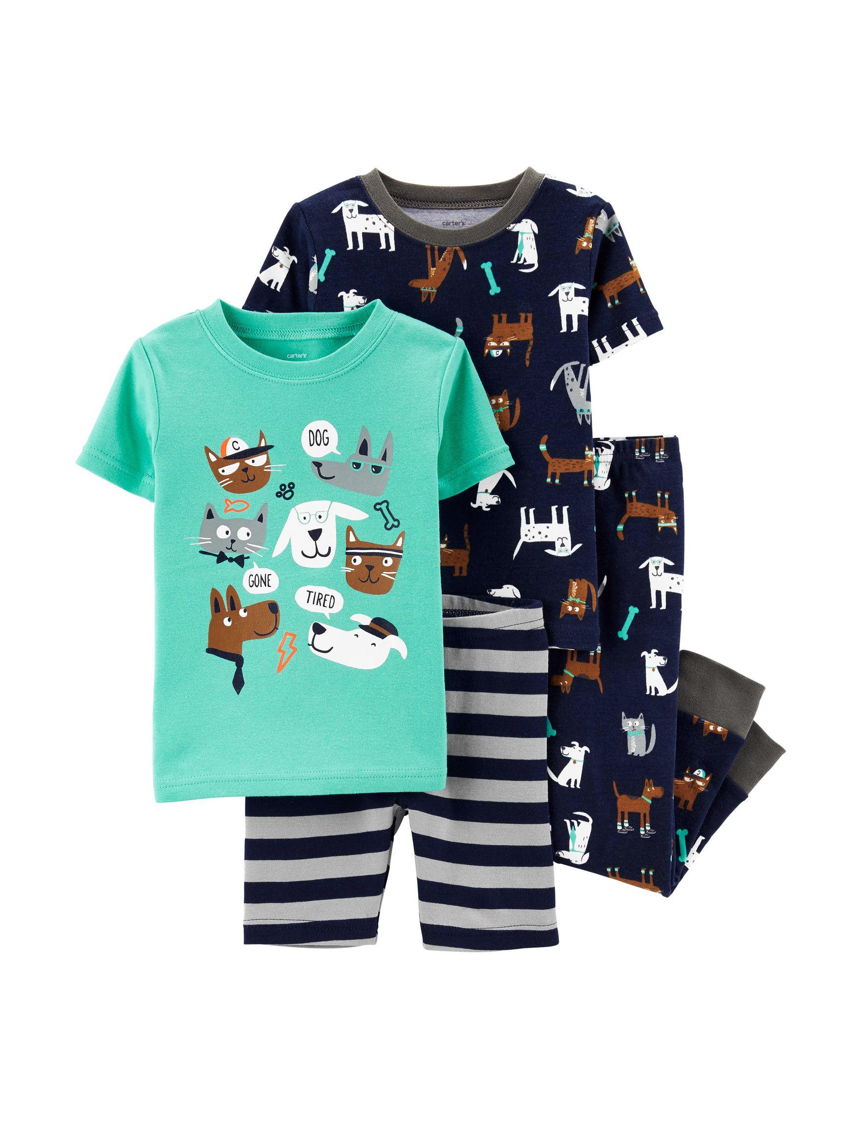 Carter's Aqua / Navy Pajama Sets