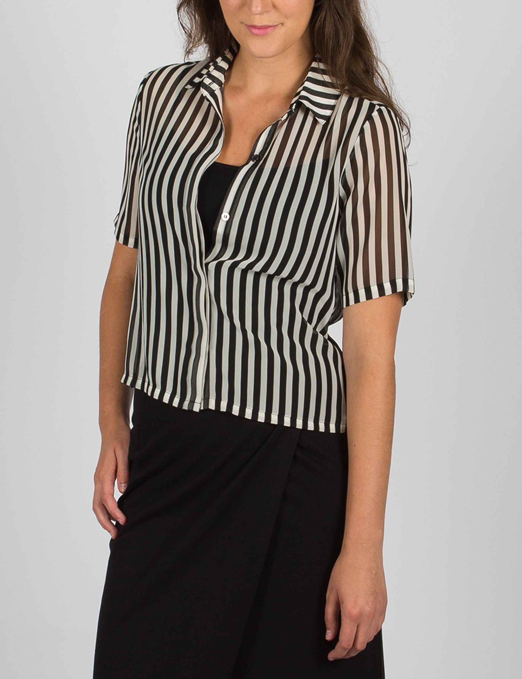 ABS by Allen Schwartz Black / White Shirts & Blouses Strapless