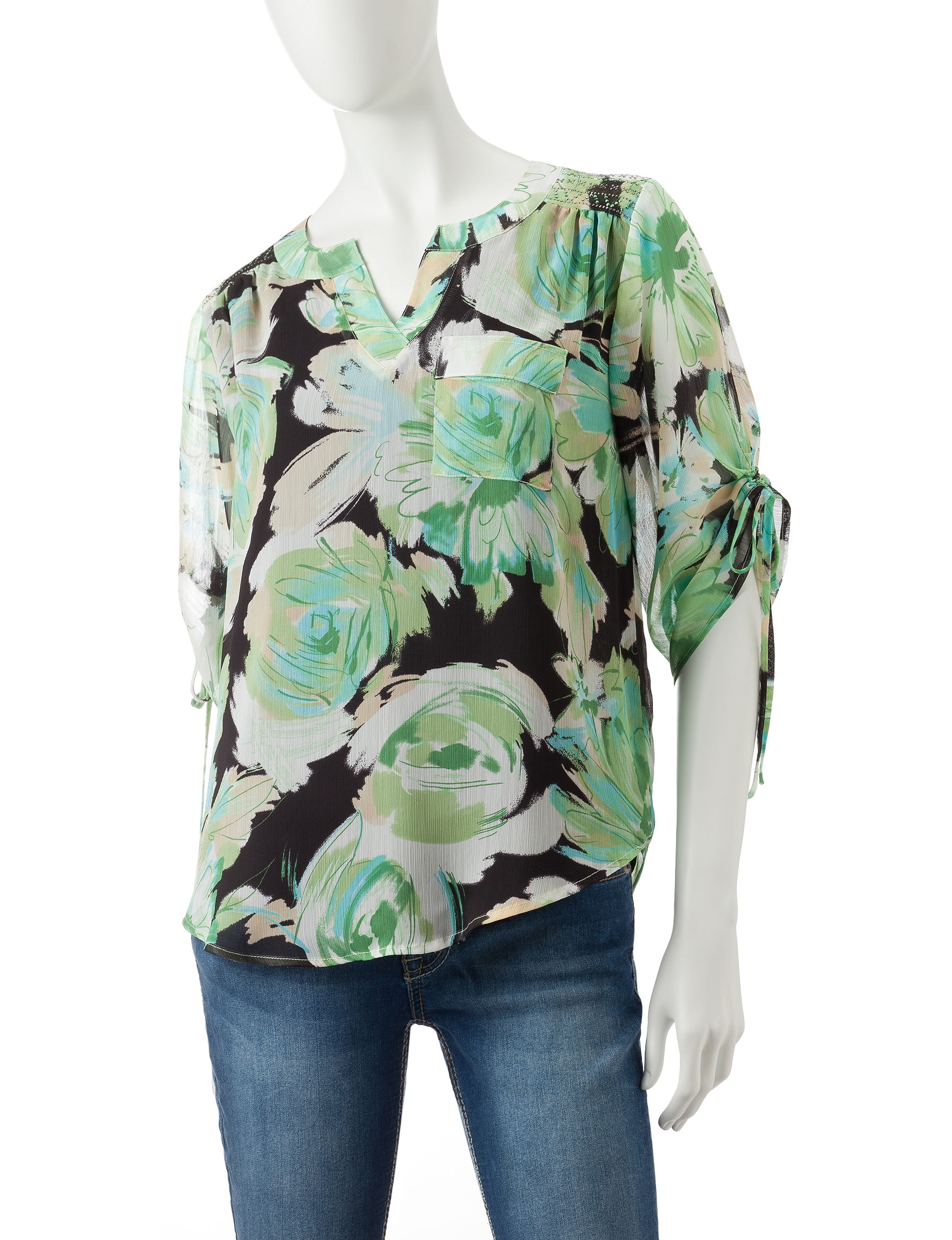 Energe Light Green Pull-overs Shirts & Blouses