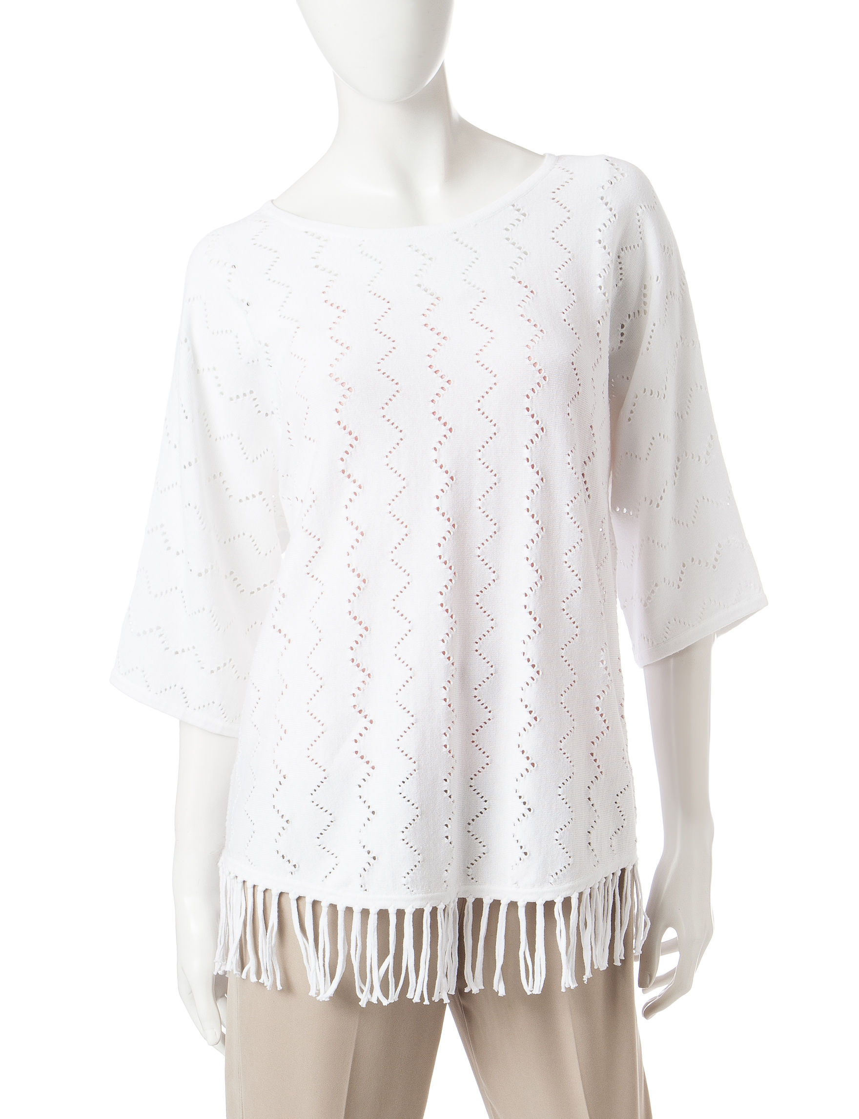 Alfred Dunner White Pull-overs