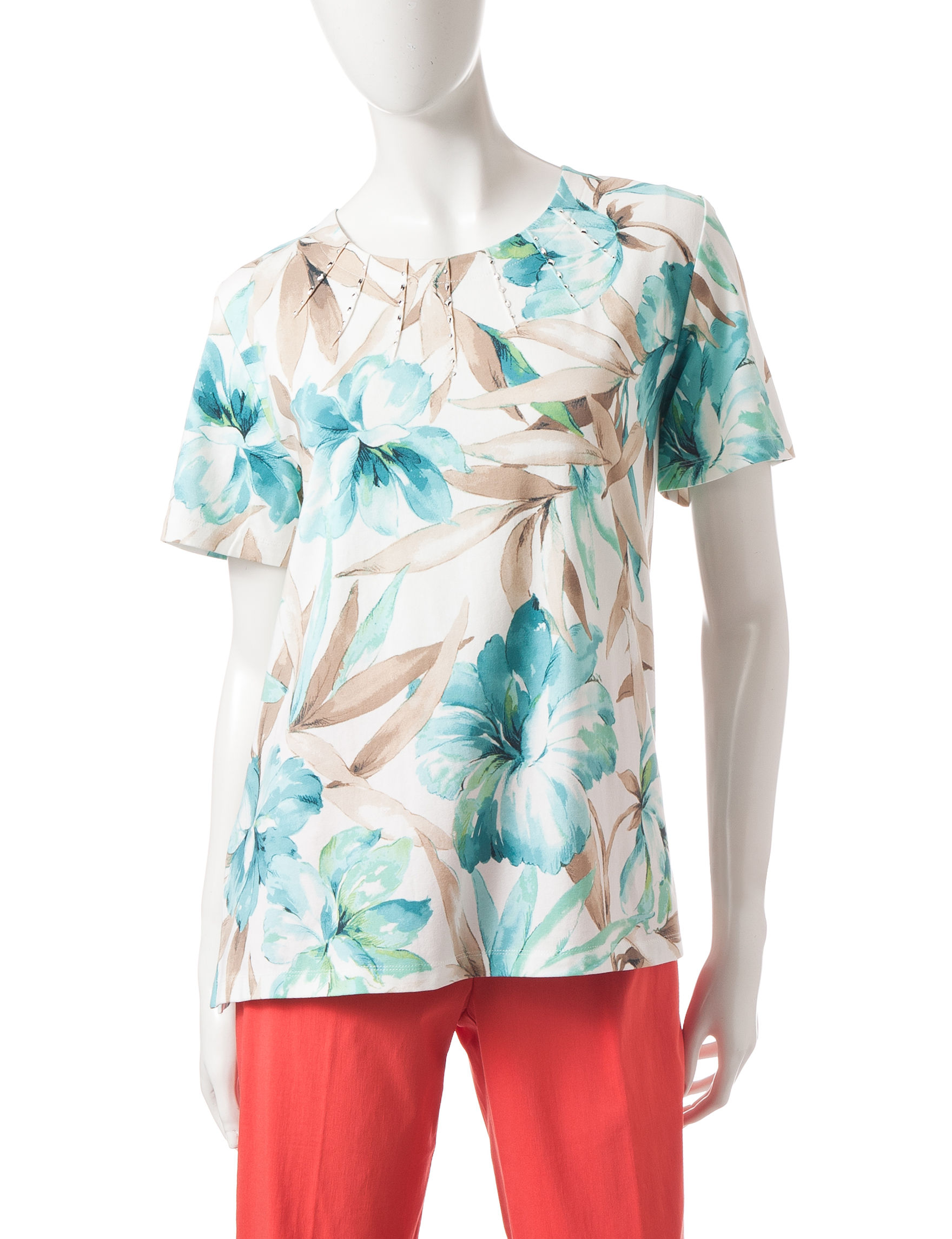 Alfred Dunner Turquoise Tees & Tanks