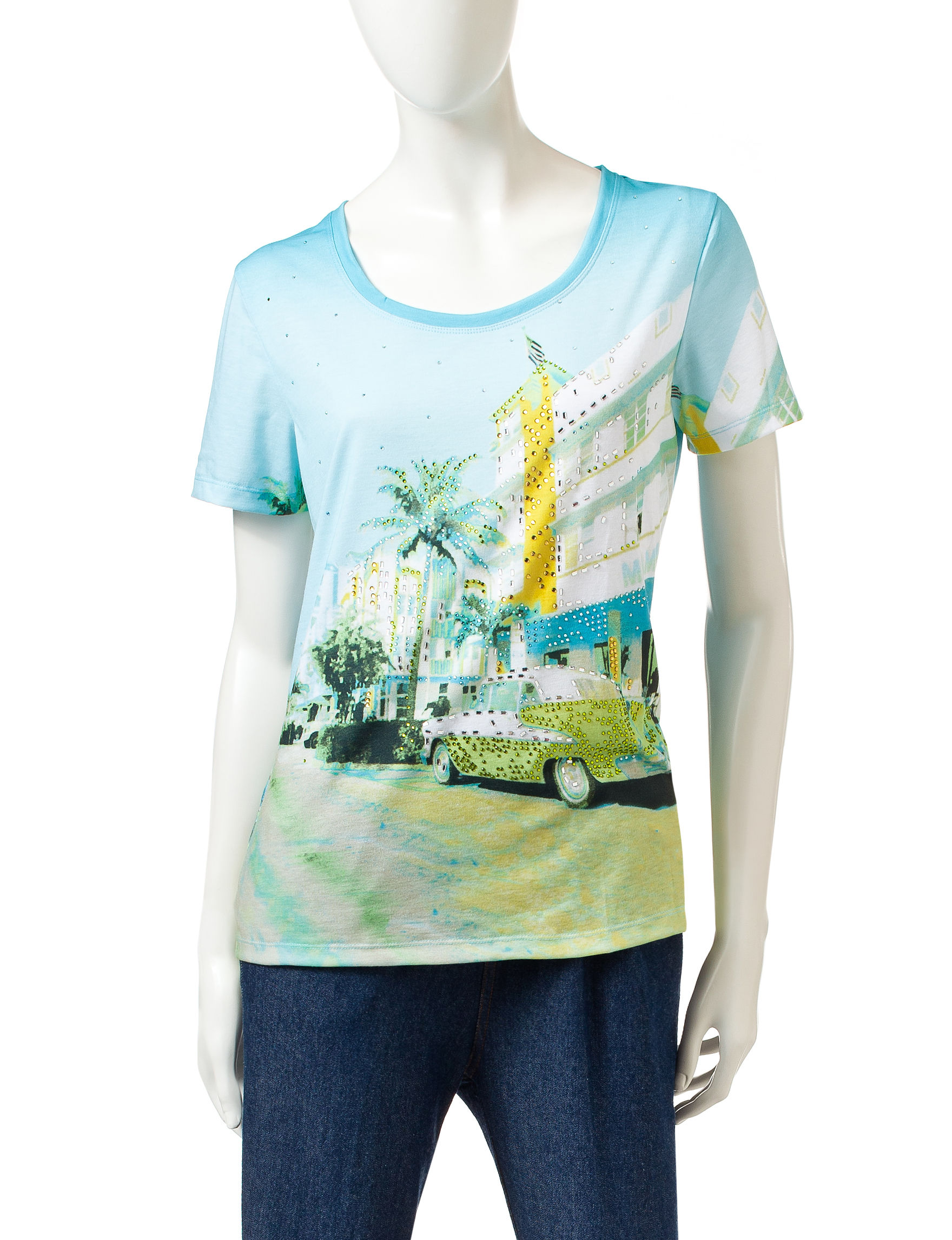 Onque Casuals Light Blue Tees & Tanks