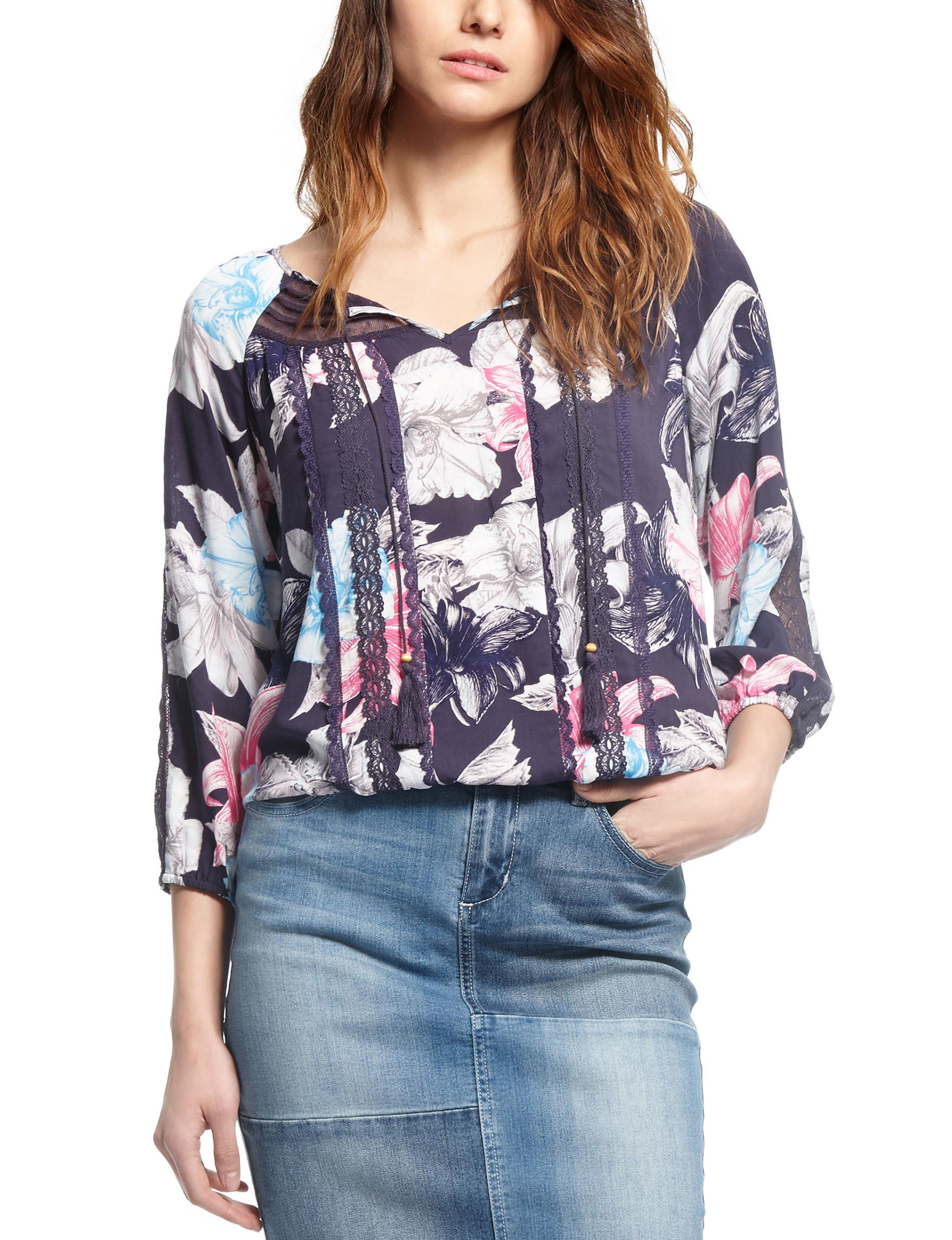 Vintage America Blues Floral Shirts & Blouses