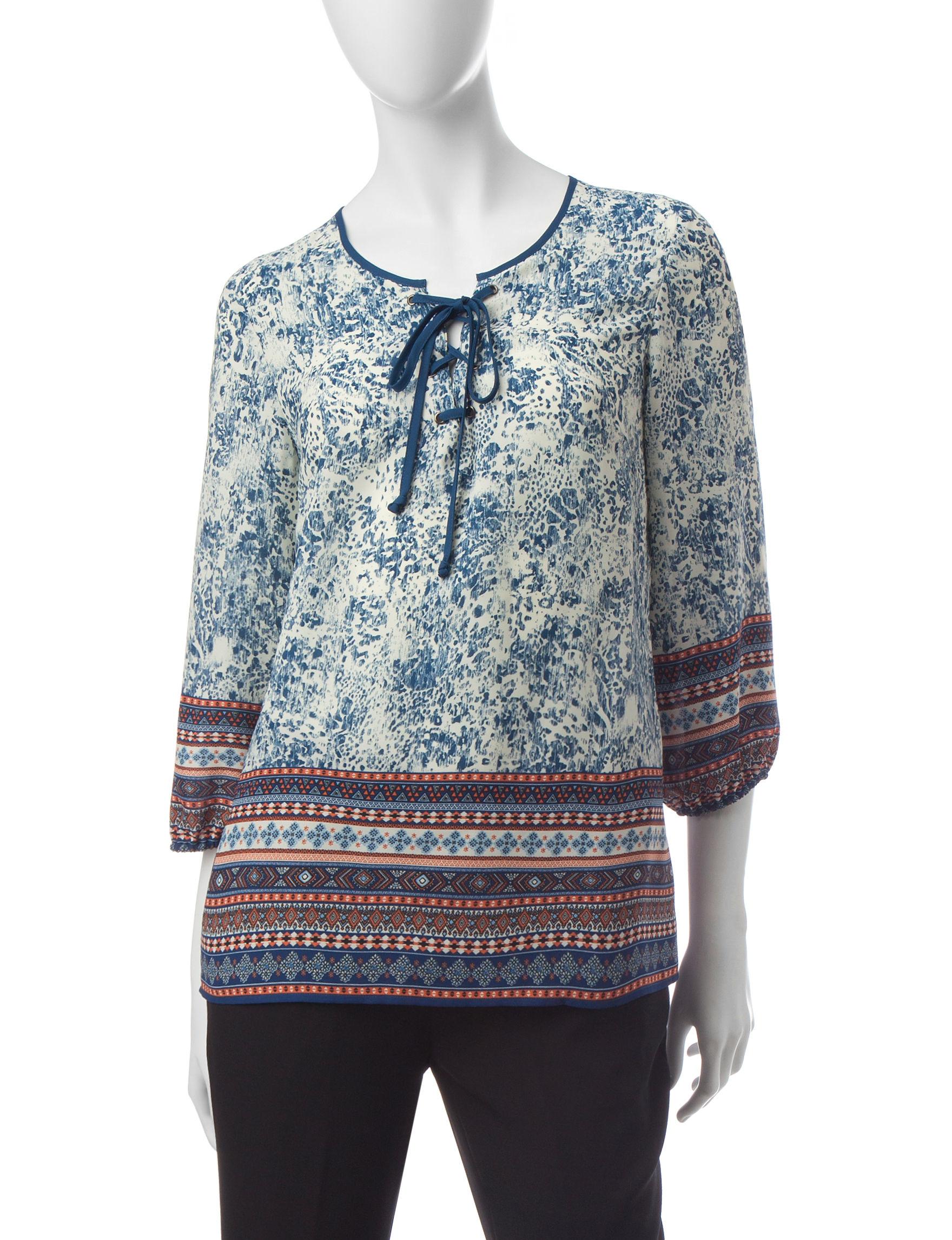 Zac & Rachel Navy / Cream Shirts & Blouses