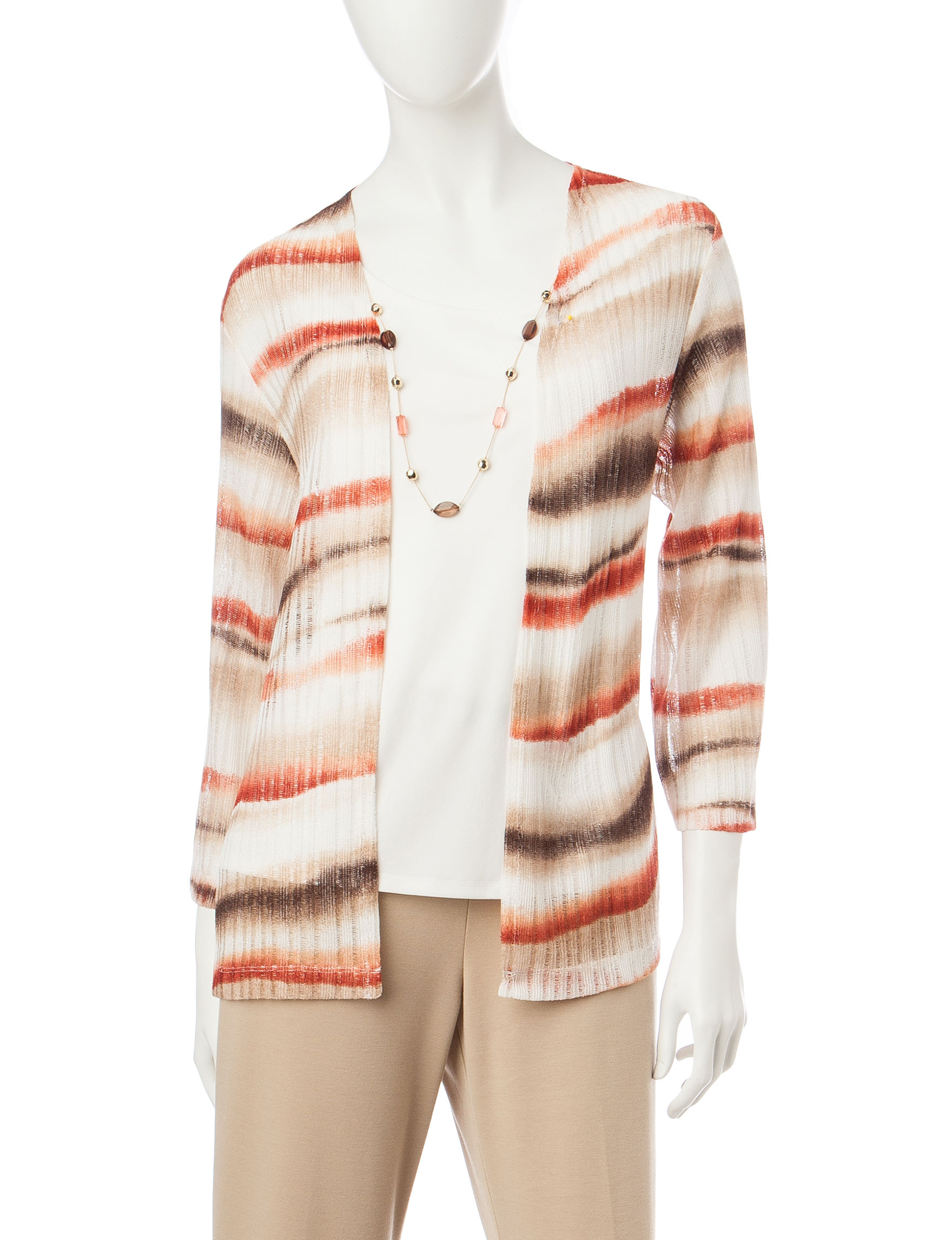 Alfred Dunner Orange Stripe Tees & Tanks