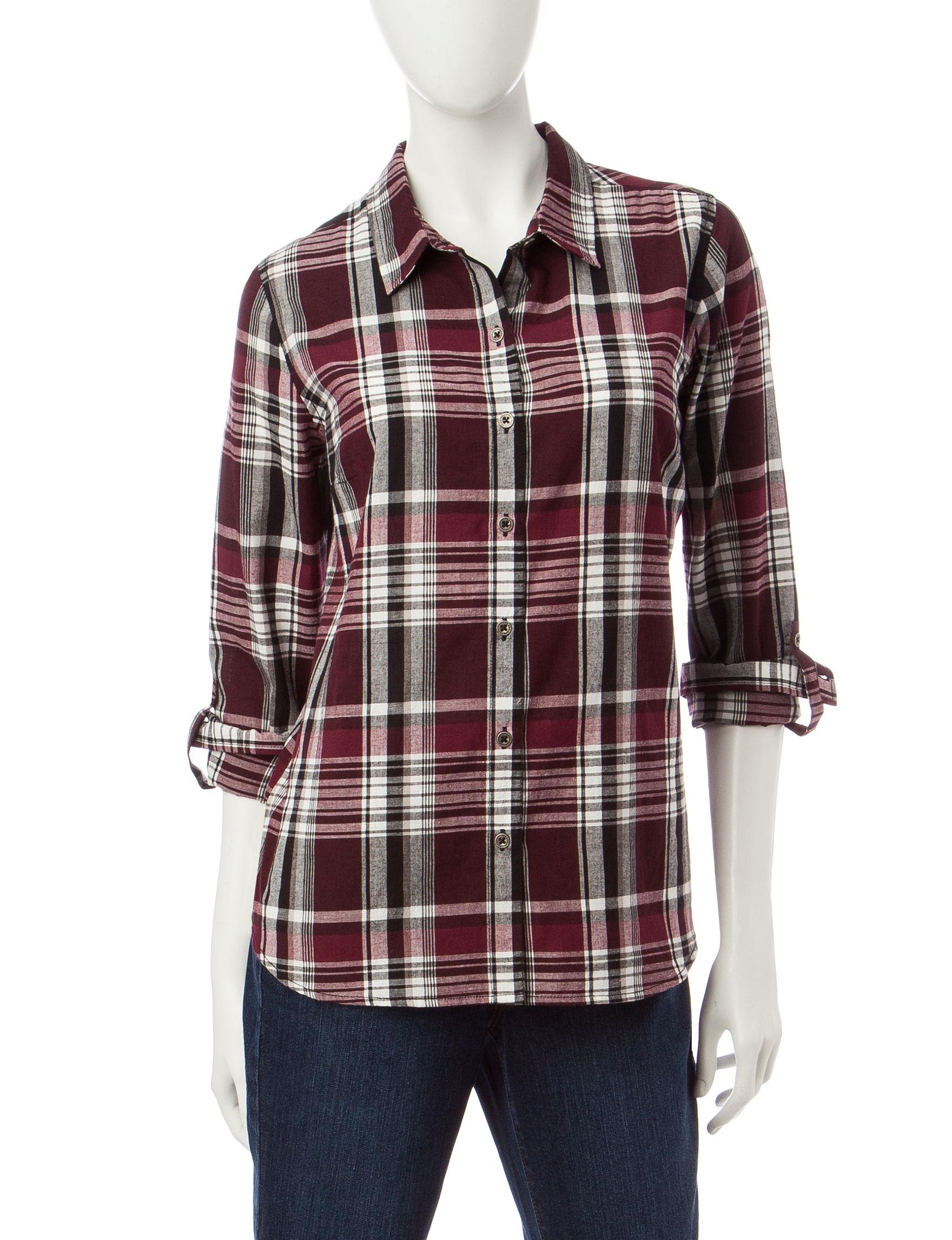 Rebecca Malone Red Plaid Shirts & Blouses