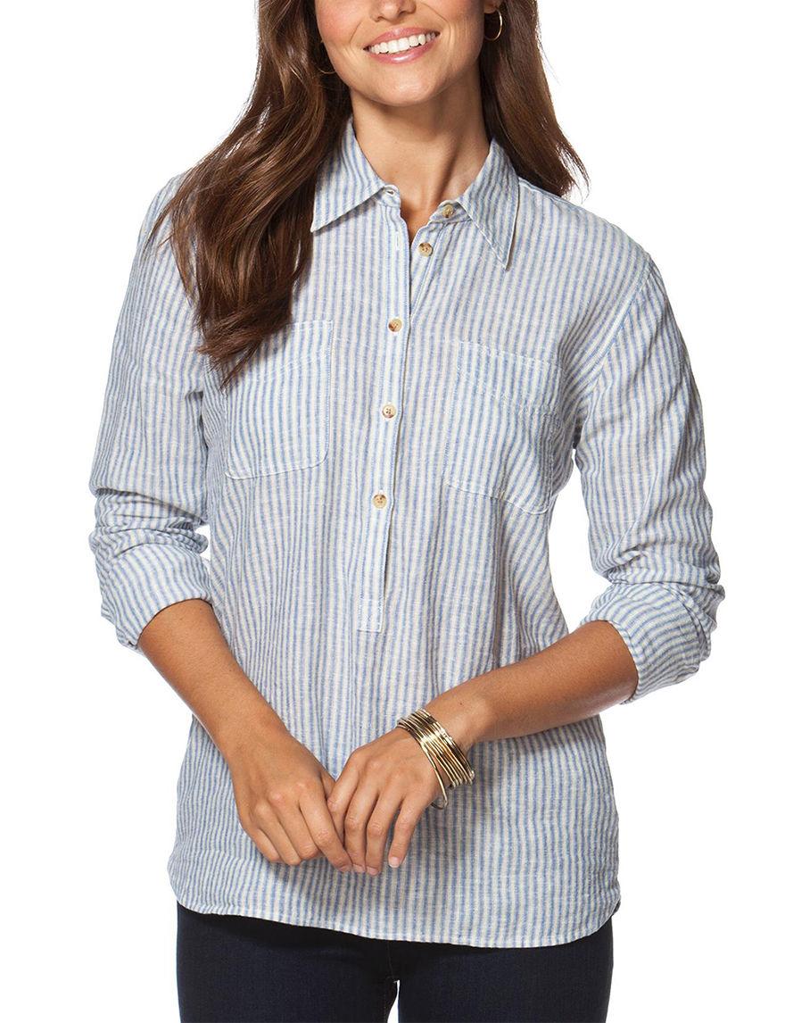 Chaps Blue/ Cream Shirts & Blouses