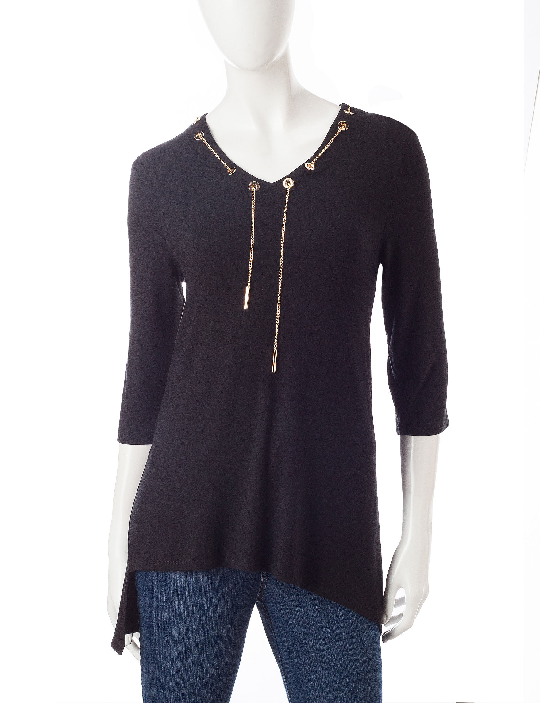 Onque Casuals Black Shirts & Blouses