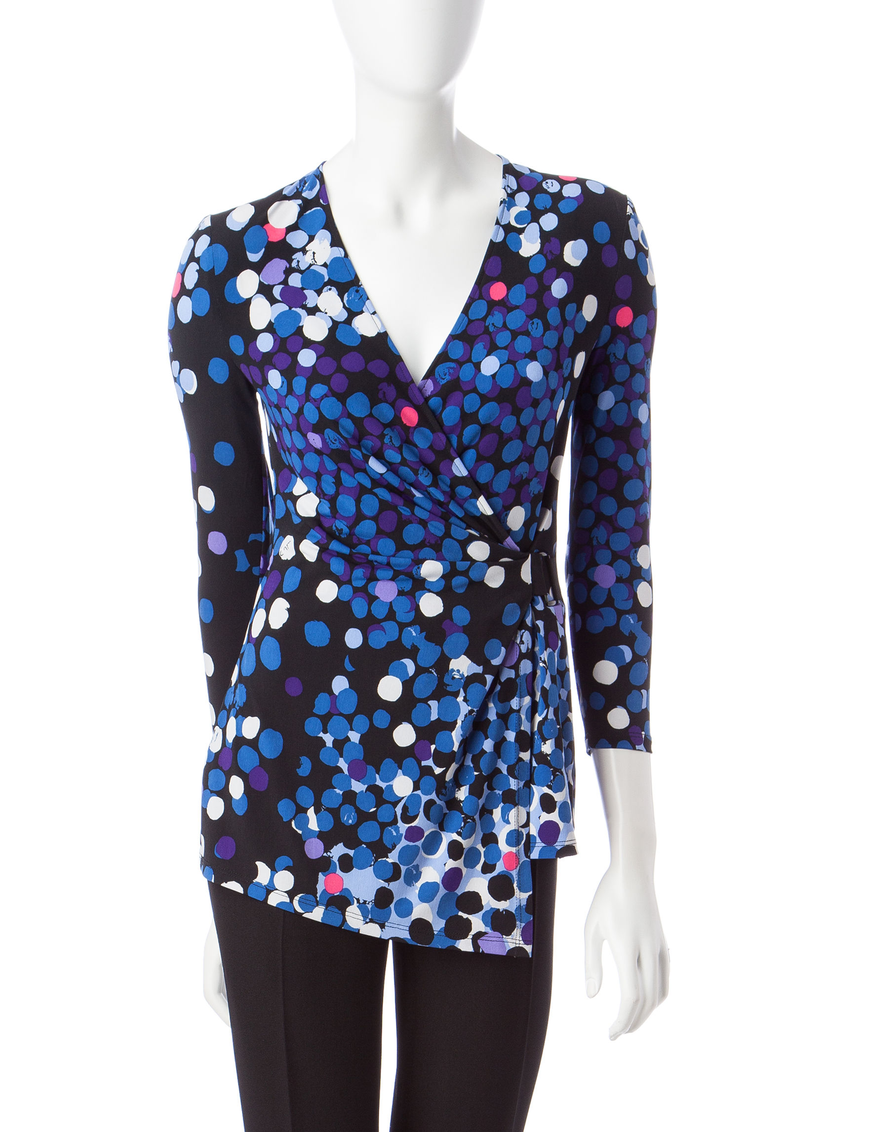 Anne Klein Black / Blue Shirts & Blouses