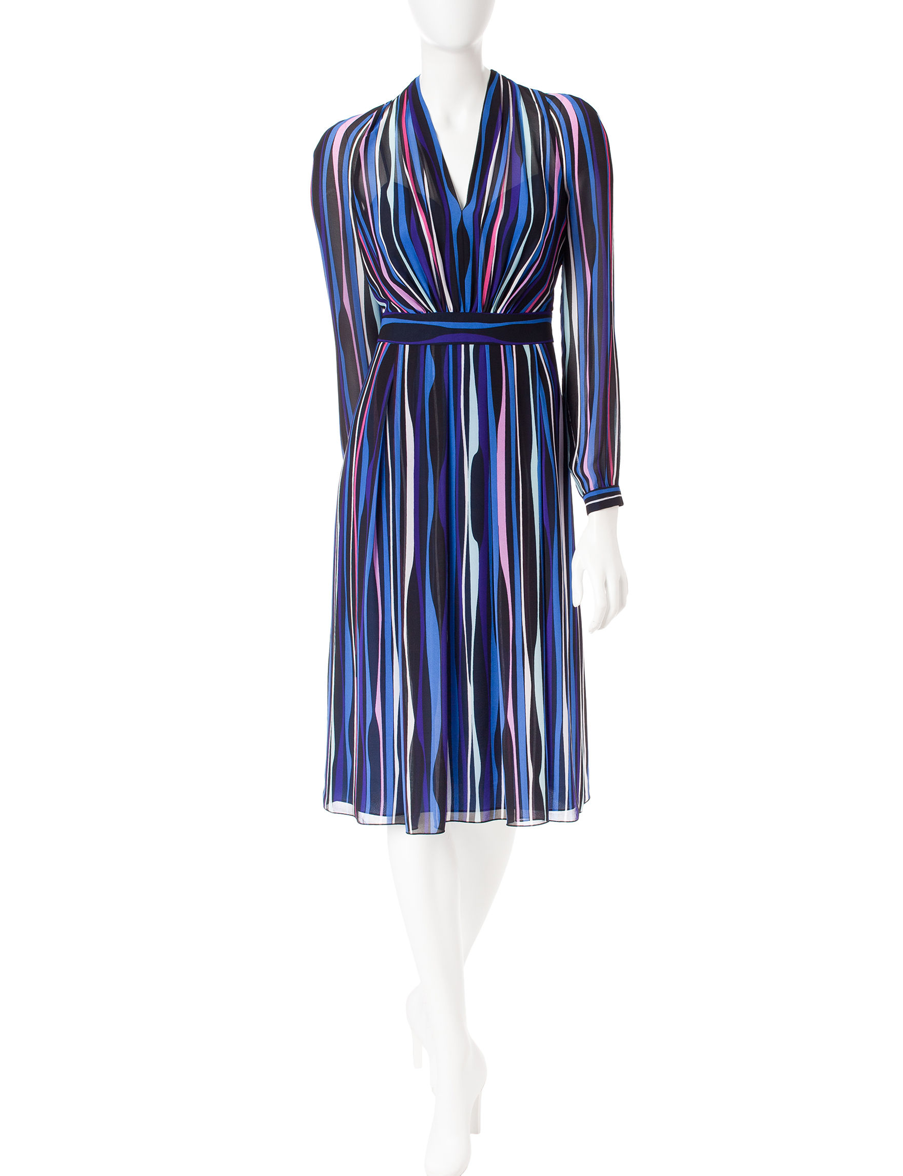 Anne Klein Black / Blue Everyday & Casual Fit & Flare Dresses