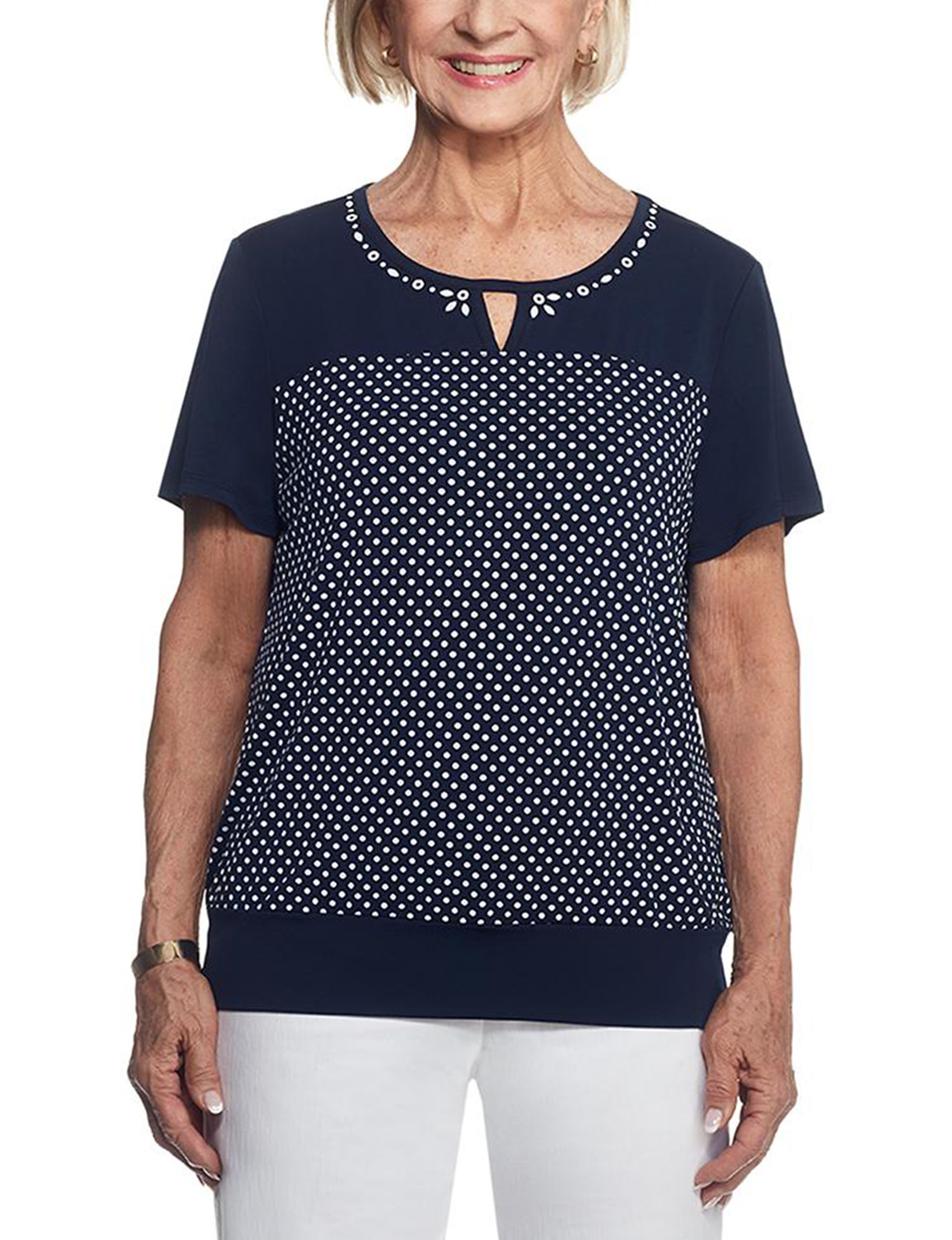 Alfred Dunner Navy / White Shirts & Blouses