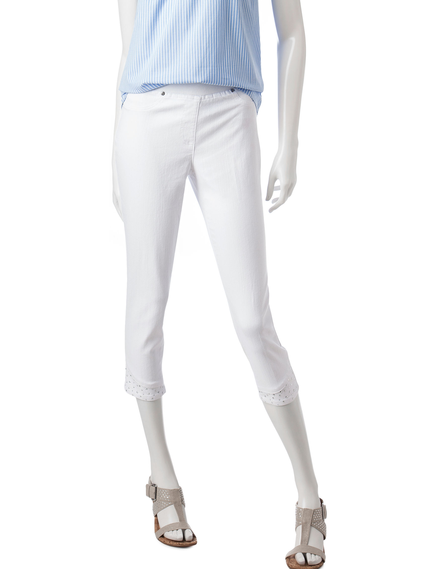 Hearts of Palm White Capris & Crops