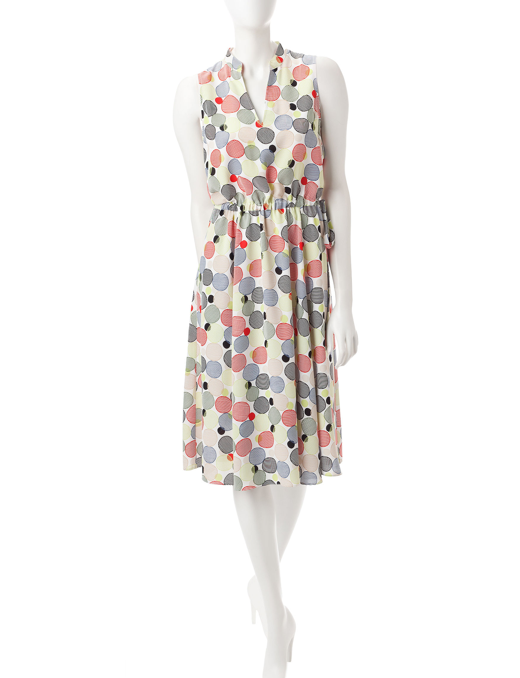 Anne Klein White / Green Everyday & Casual Fit & Flare Dresses