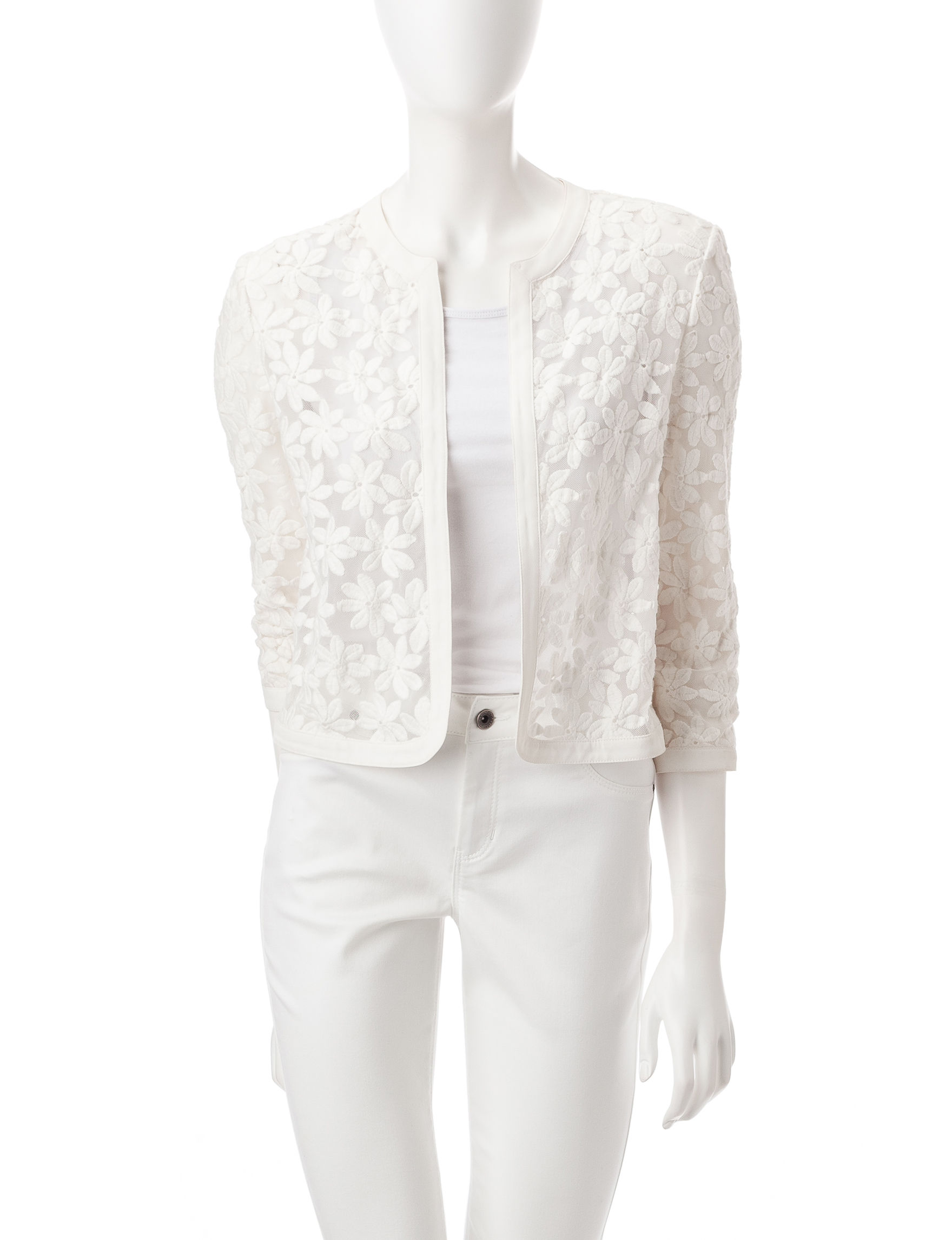 Anne Klein Floral Lace Cropped Cardigan | Stage Stores