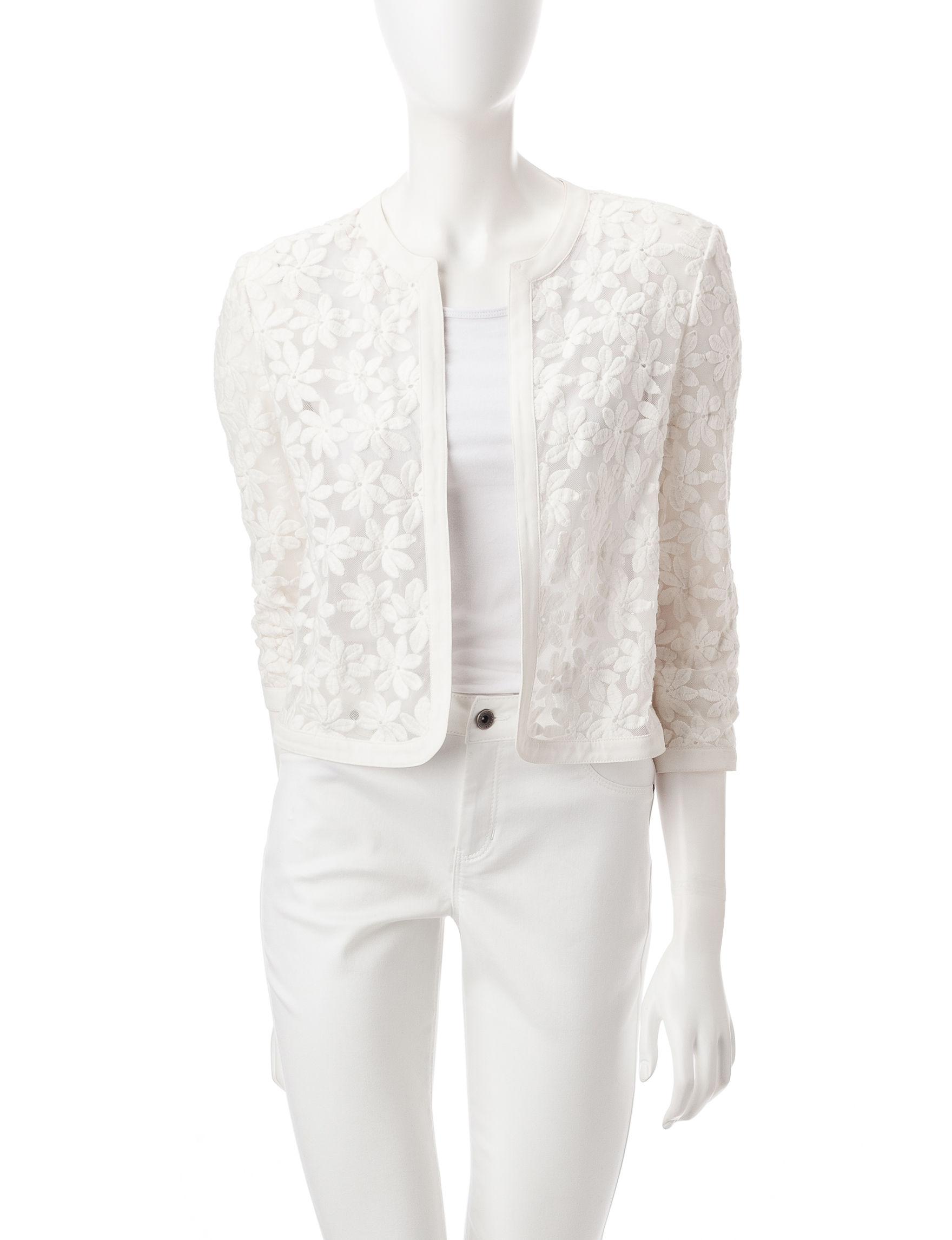 Anne Klein White Cardigans Lightweight Jackets & Blazers