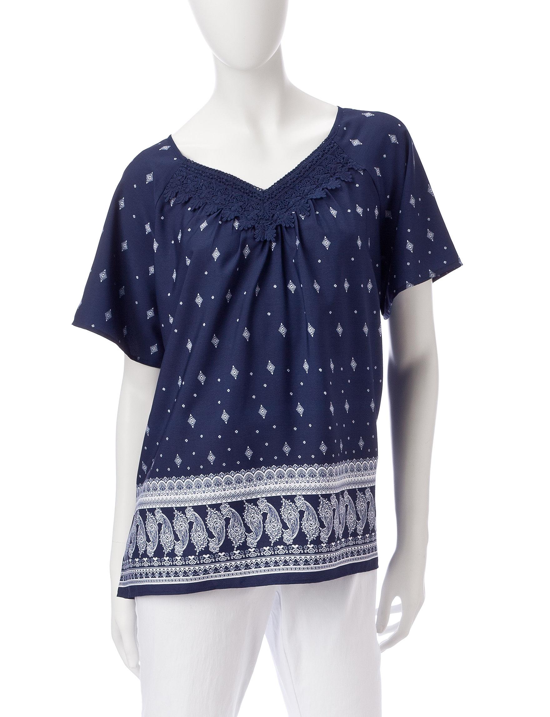 Rebecca Malone Navy / White Shirts & Blouses