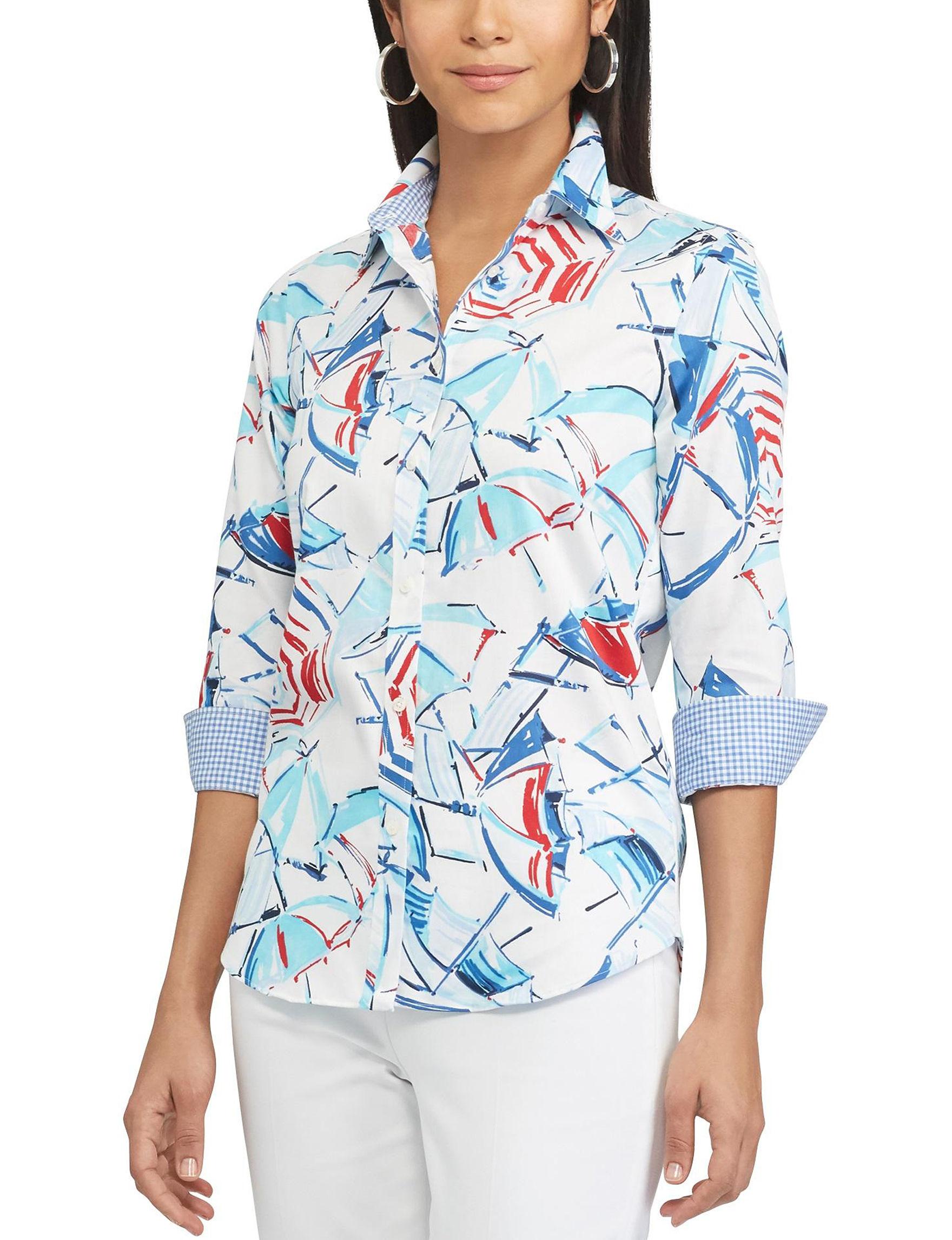 Chaps White Multi Shirts & Blouses