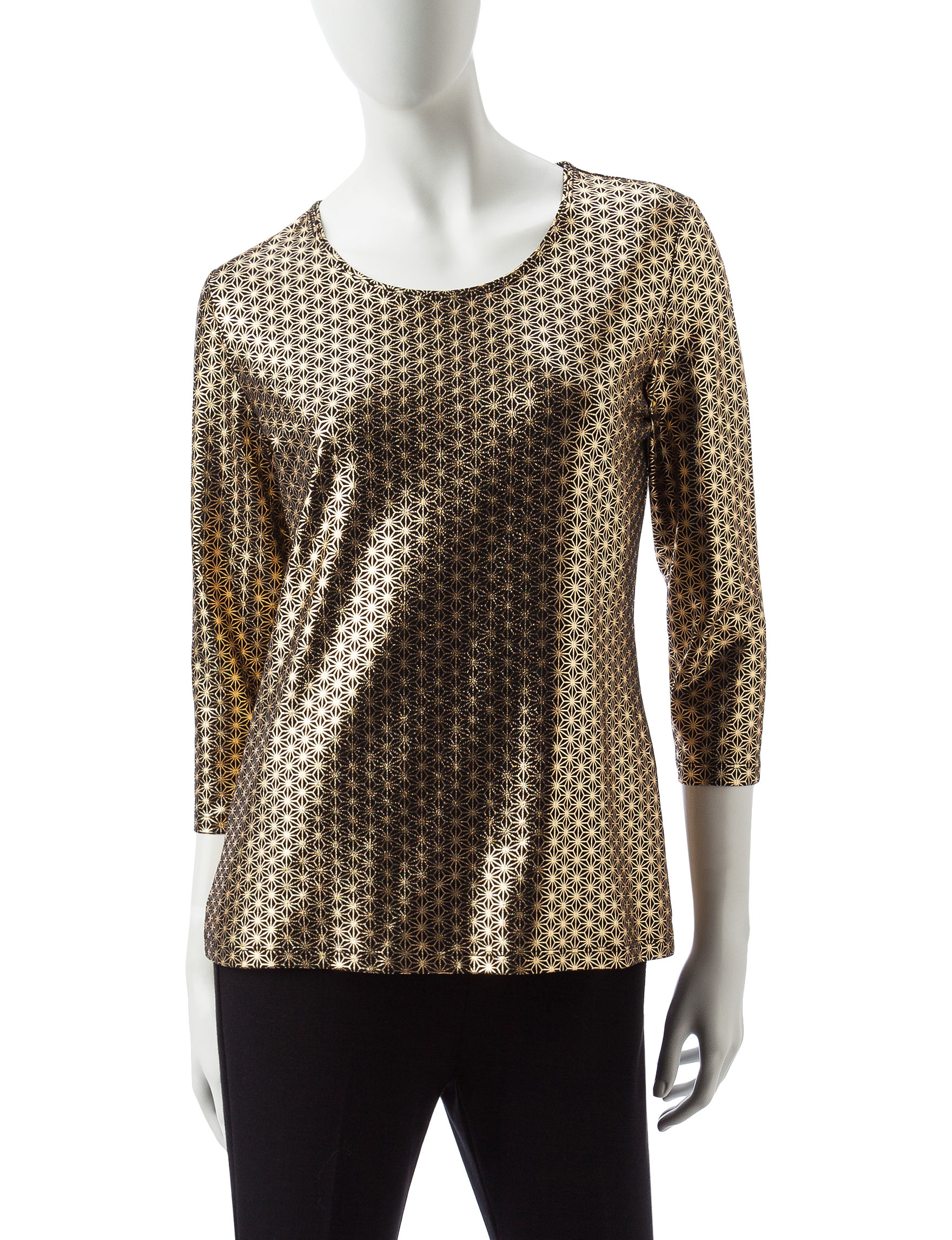 Rebecca Malone Gold / Black Evening & Formal Shirts & Blouses