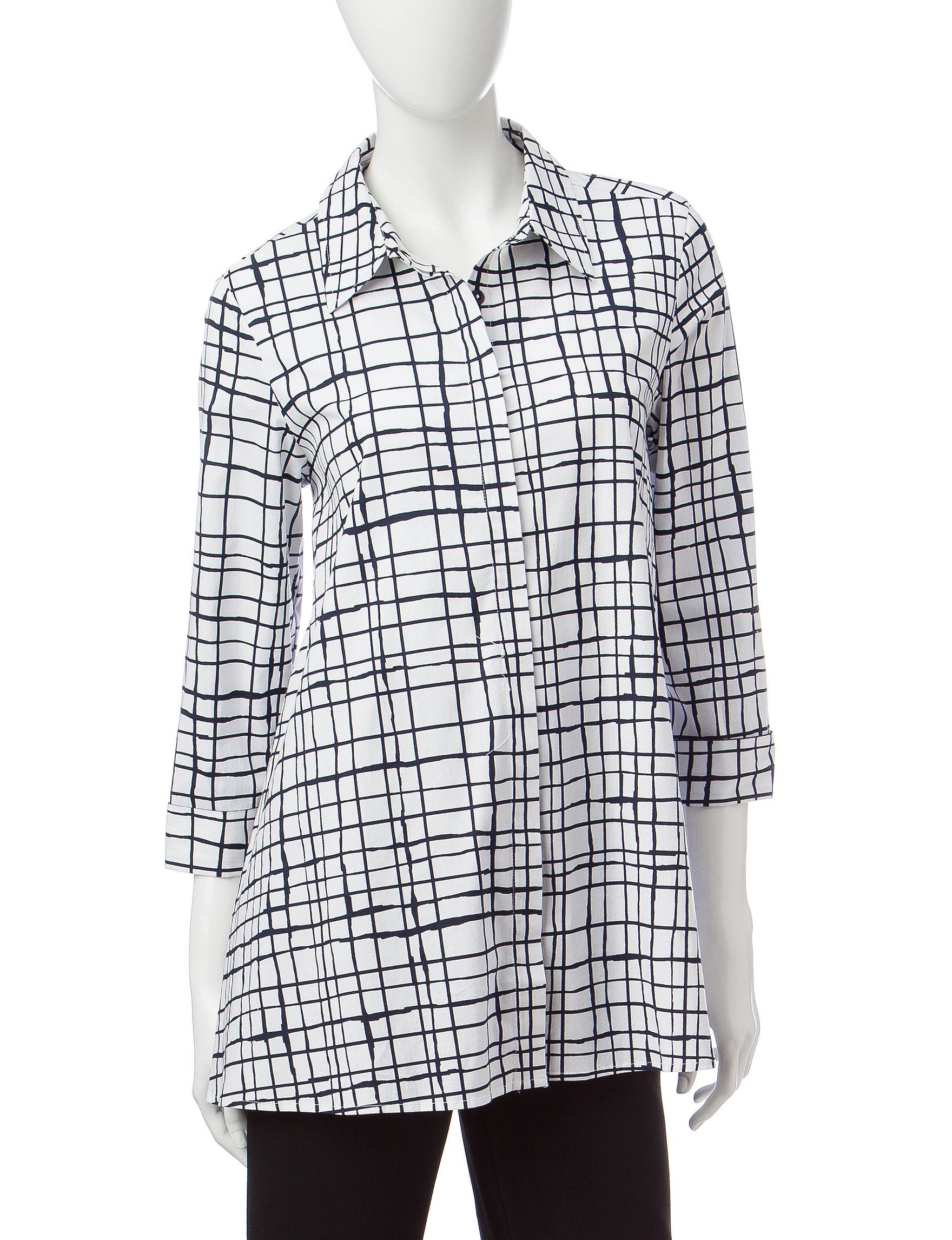 Valerie Stevens White / Navy Shirts & Blouses