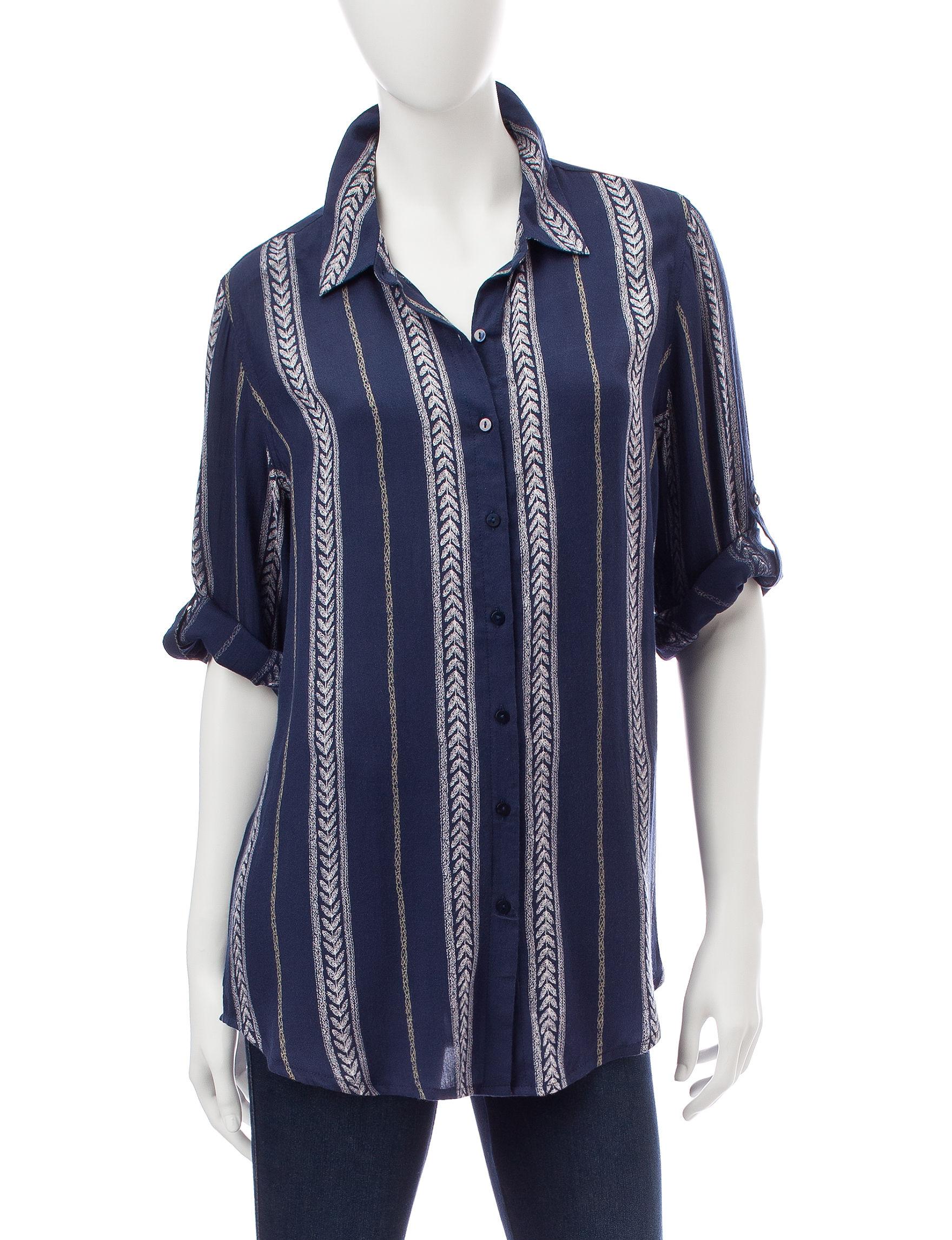 Hannah Blue / Ivory Shirts & Blouses