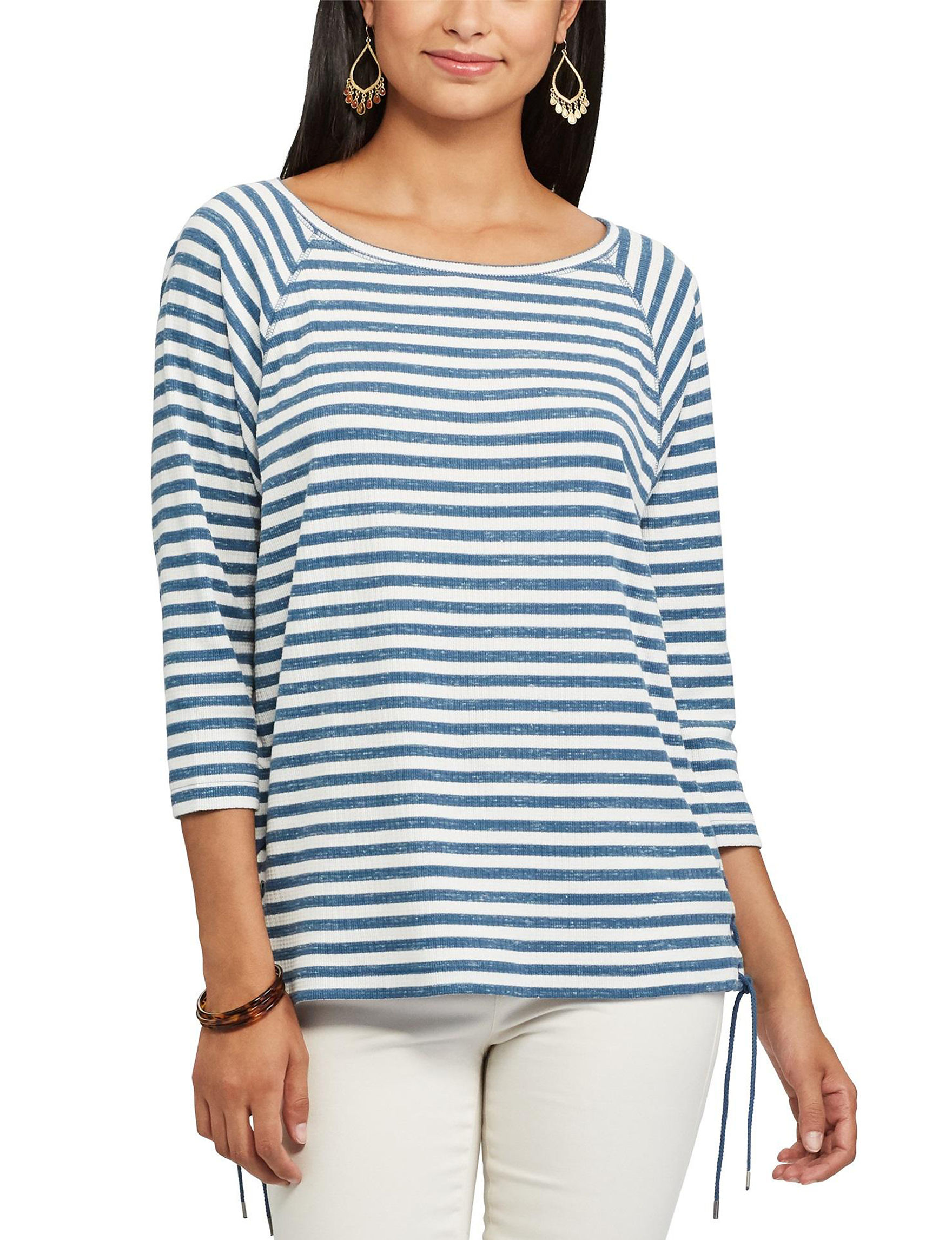 Chaps Striped Side Lace-Up Top. Chaps Blue Shirts   Blouses 23f0f874d