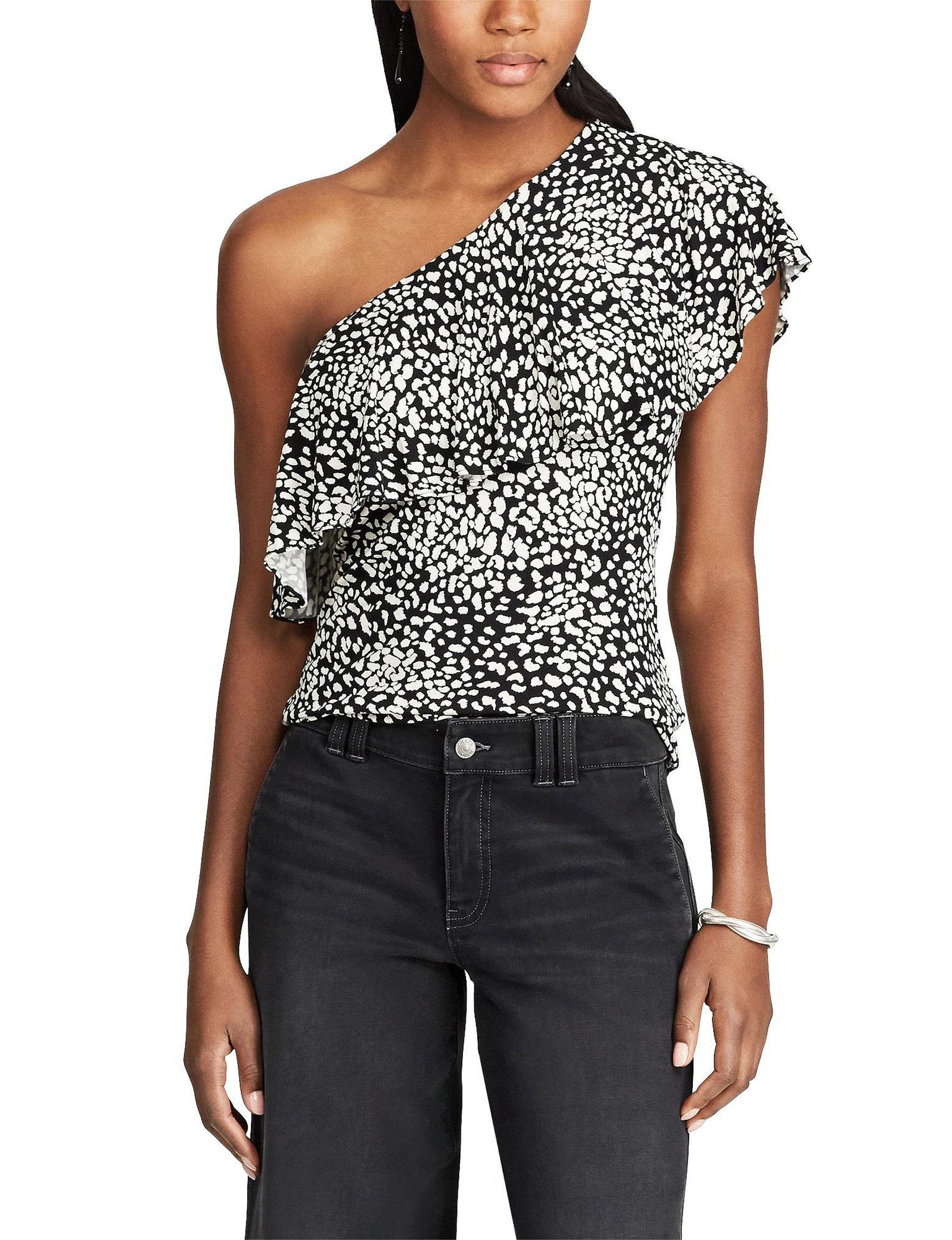 Chaps Black / White Shirts & Blouses