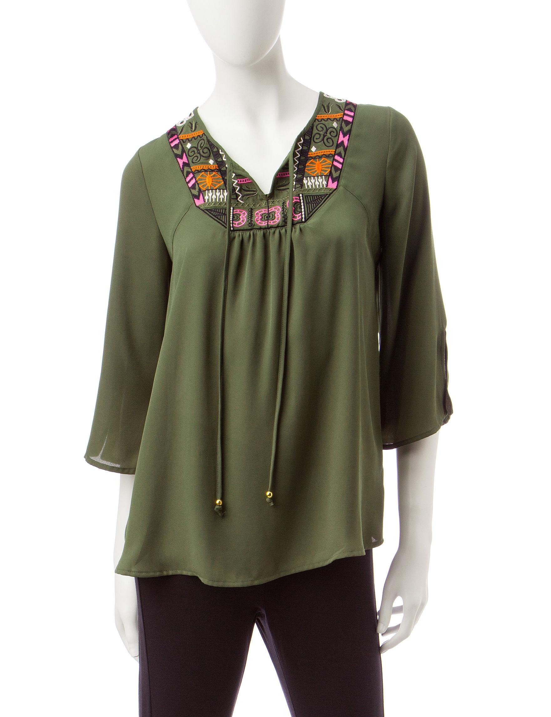 Valerie Stevens Dark Green Shirts & Blouses