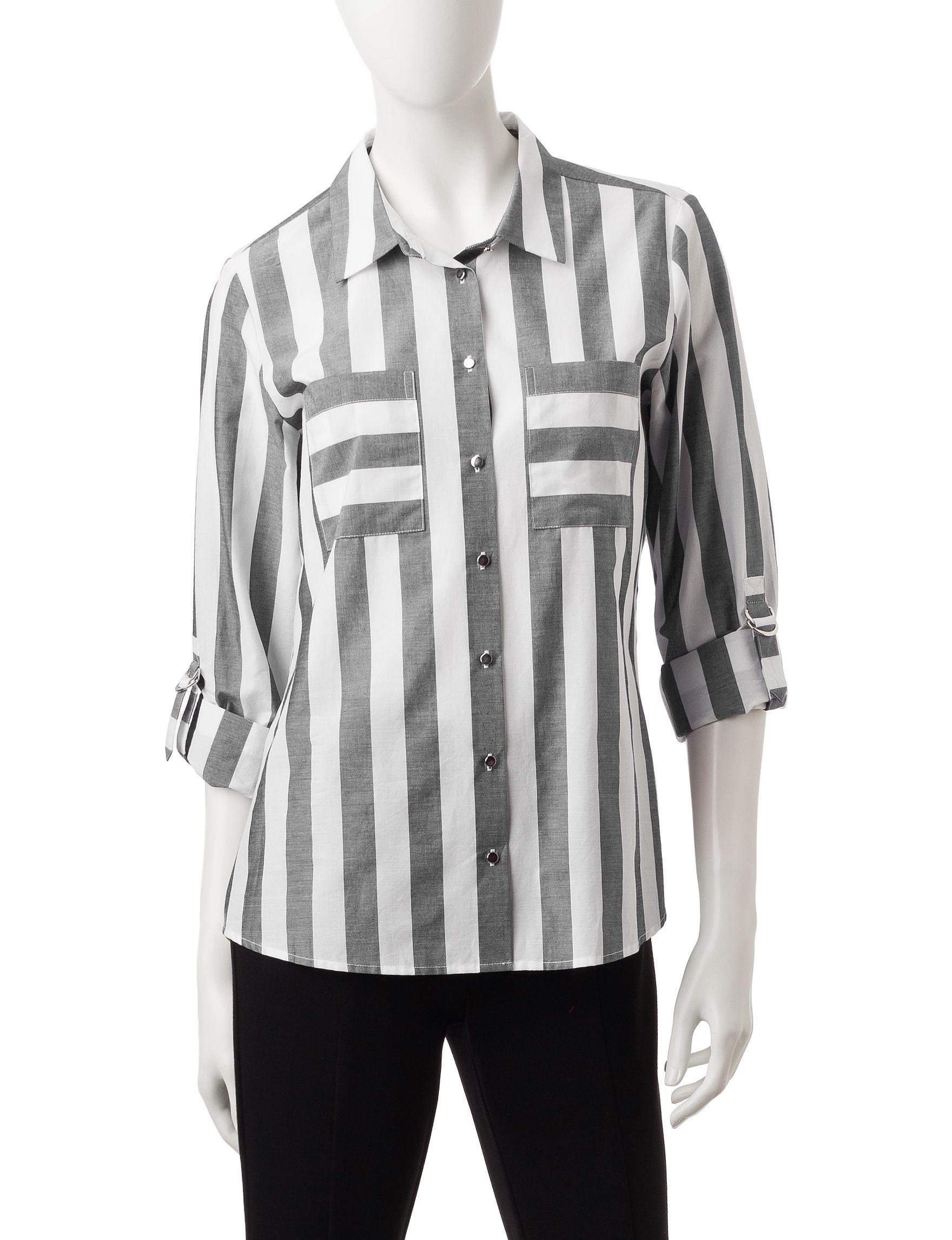Rebecca Malone Grey / White Shirts & Blouses