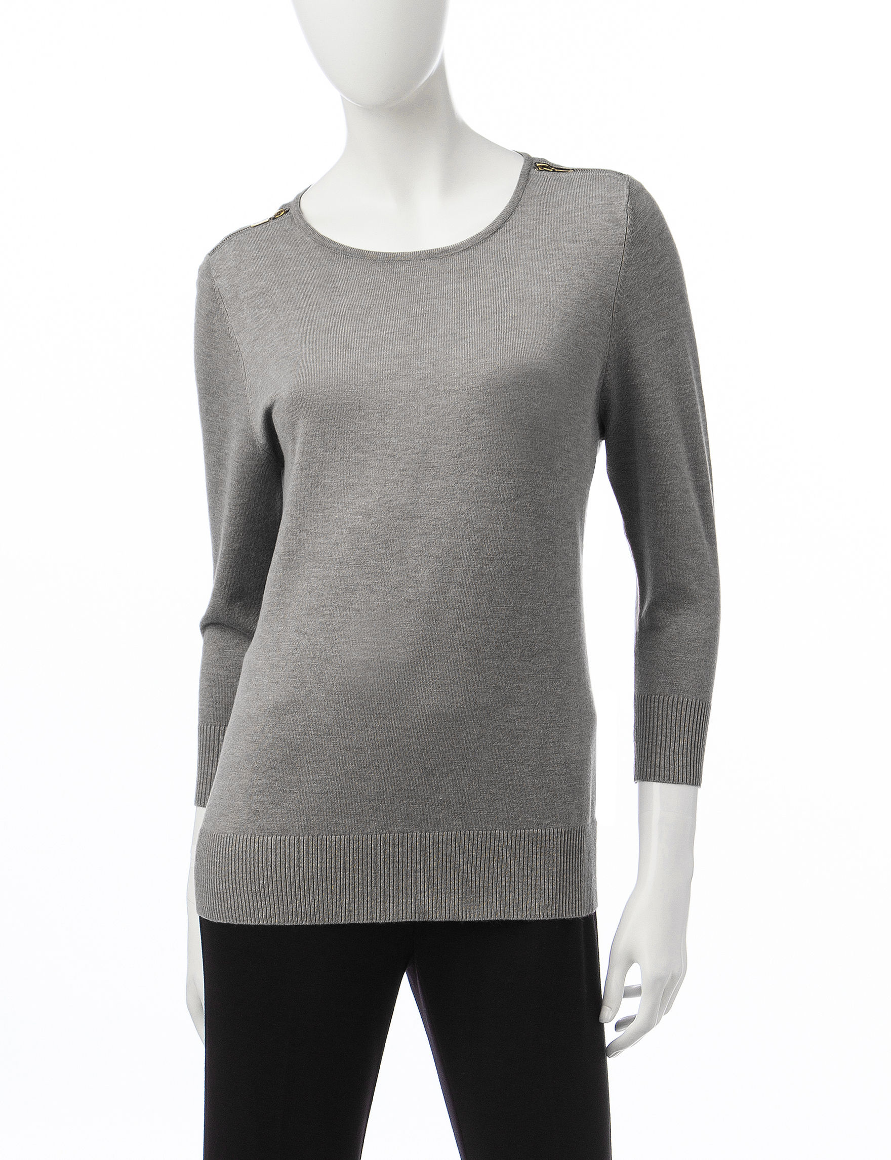 Valerie Stevens Medium Heather Grey Shirts & Blouses