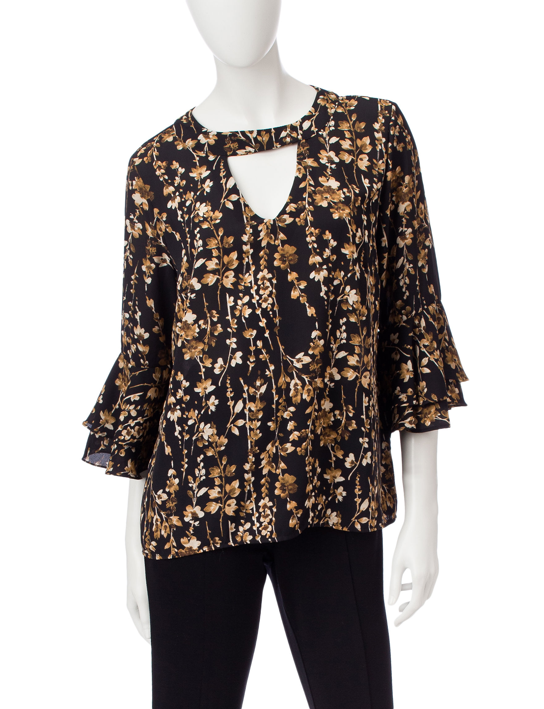 NY Collection Black / Beige Shirts & Blouses