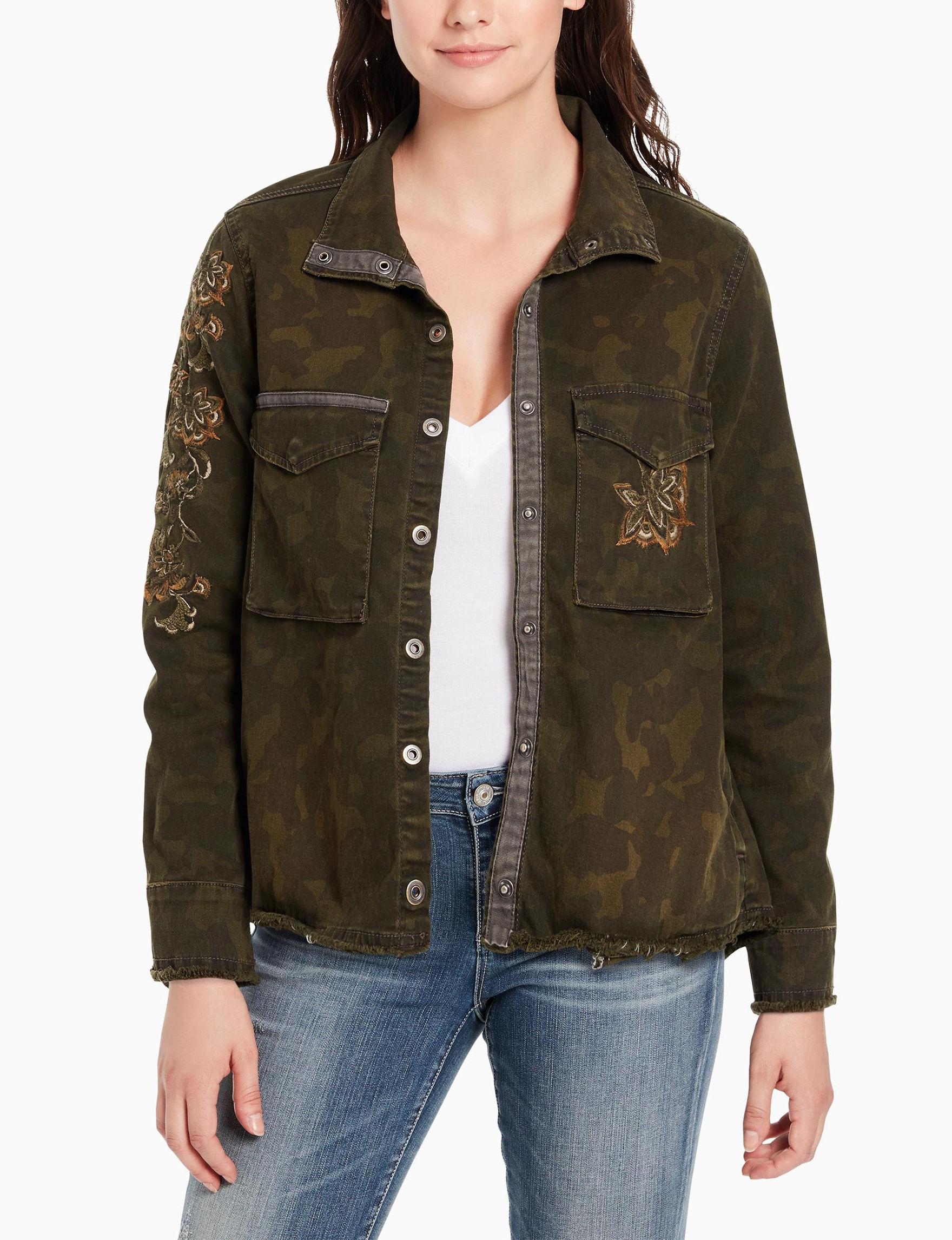 Vintage America Blues Green Lightweight Jackets & Blazers Shirts & Blouses