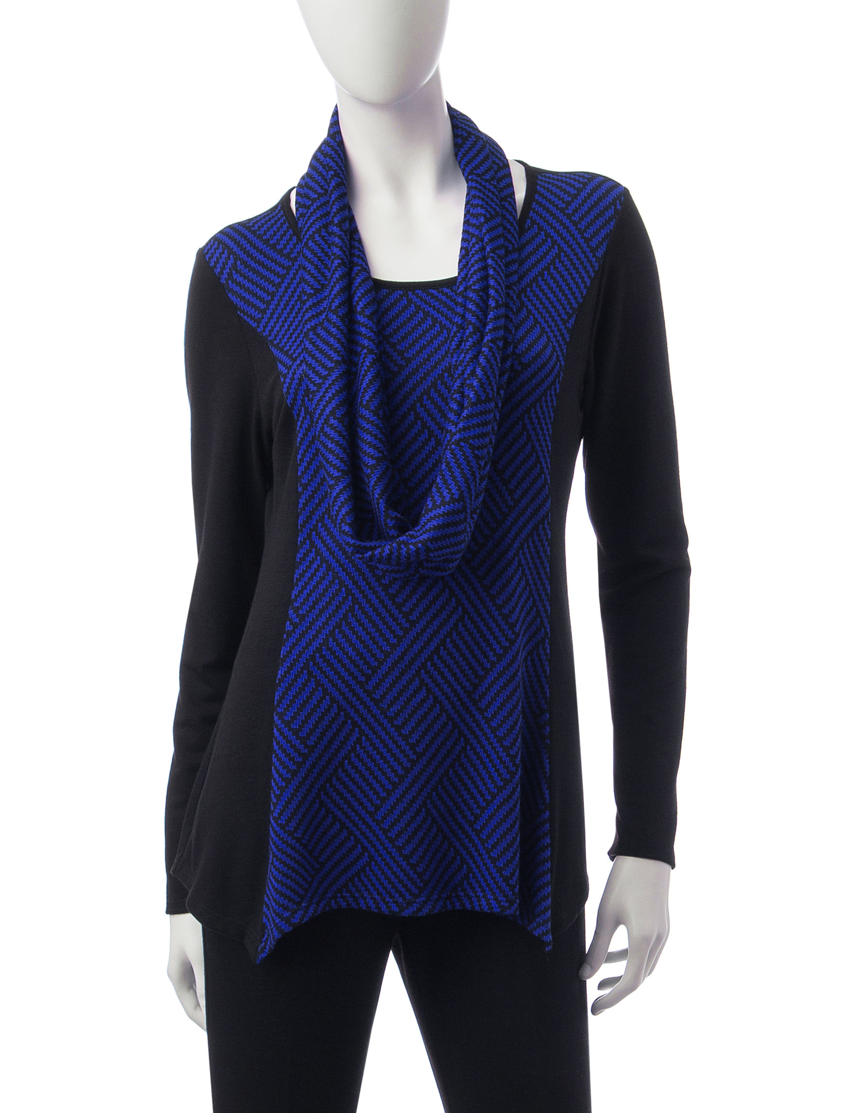 Rebecca Malone Black / Blue Shirts & Blouses