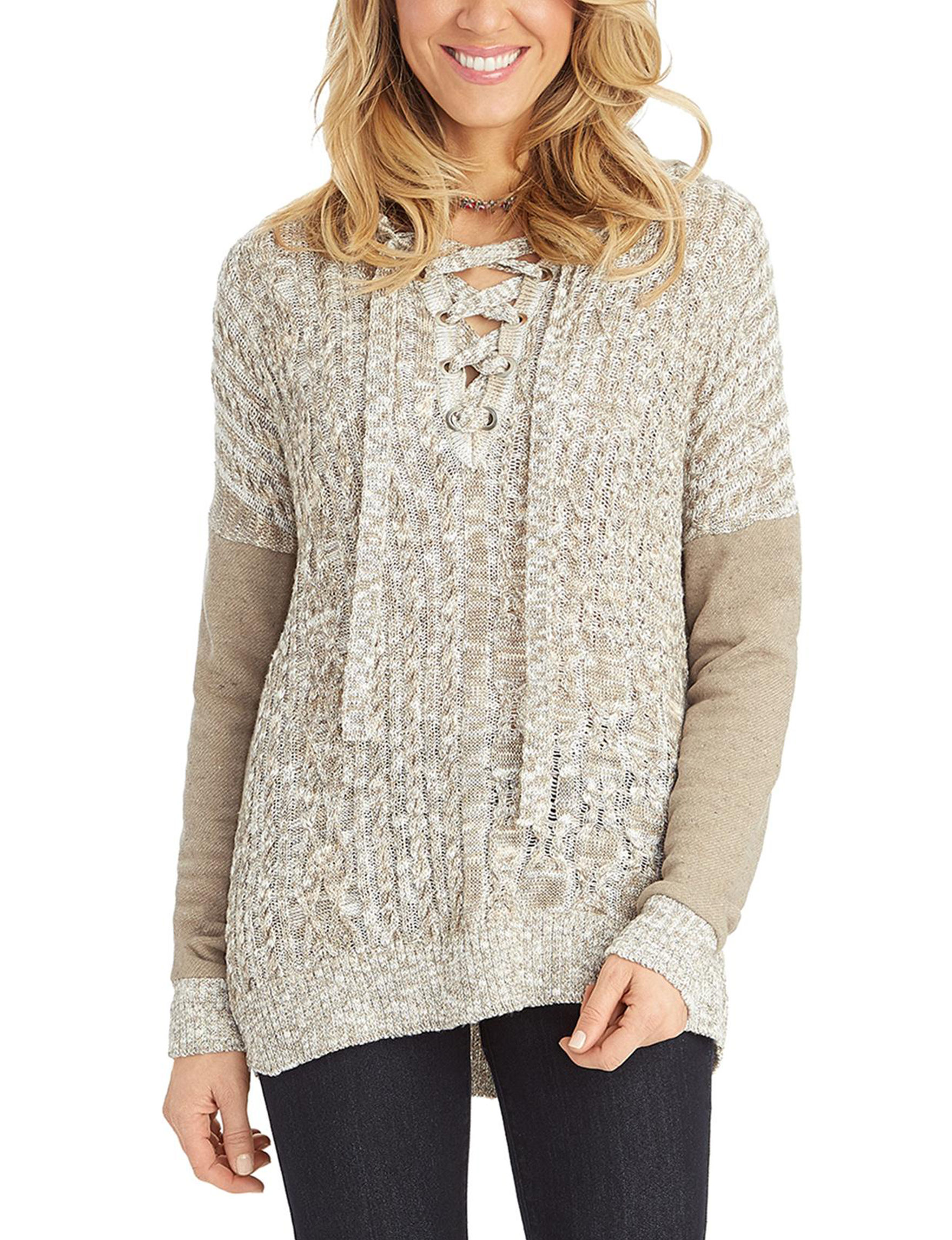 Democracy Cable-Knit Lace-Up Sweater  a467e8d73