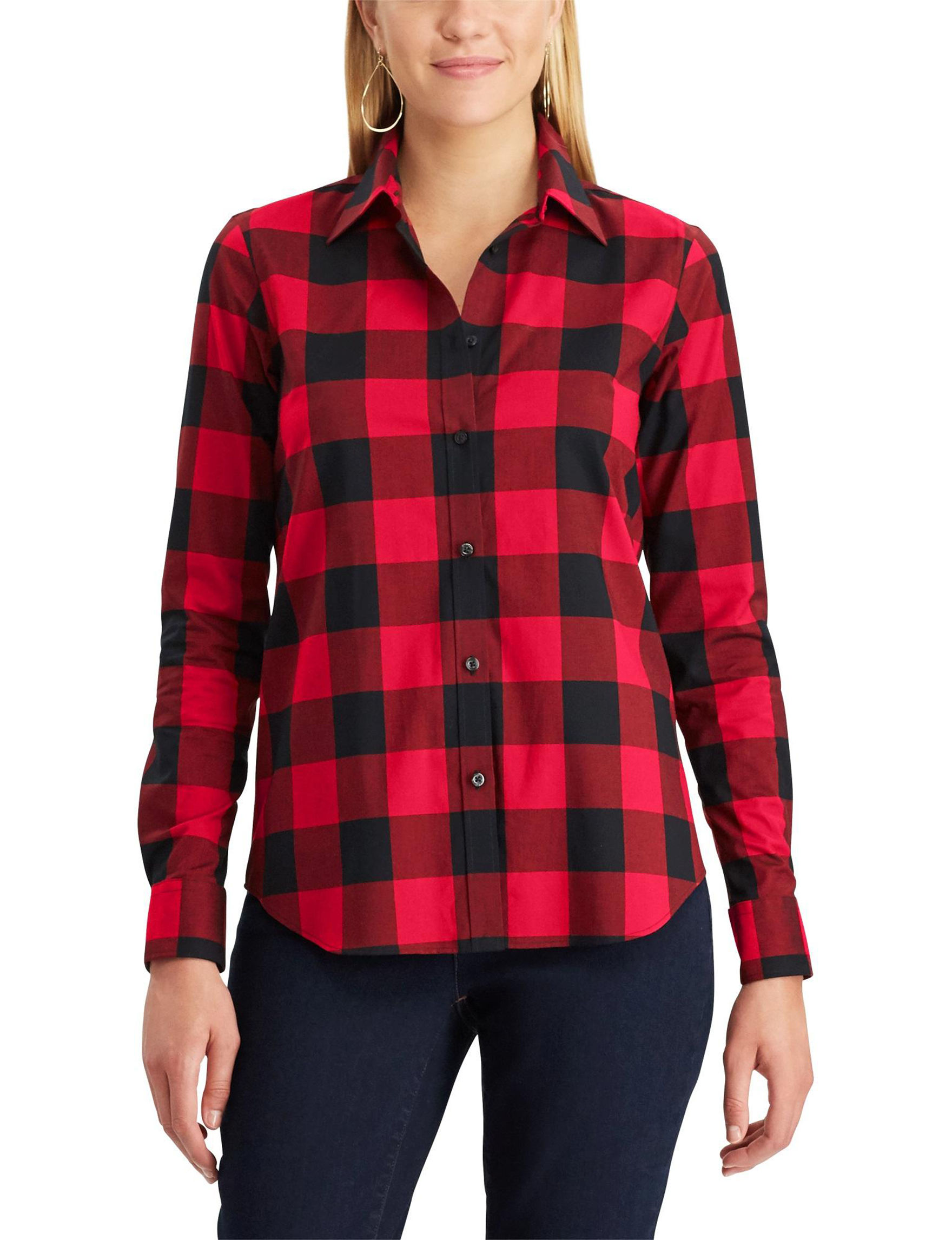 Chaps Black / Red Shirts & Blouses