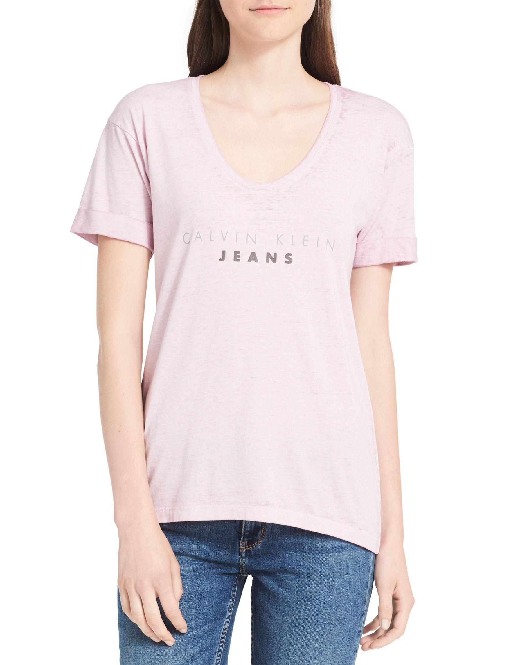 Calvin Klein Jeans Pink Tees & Tanks