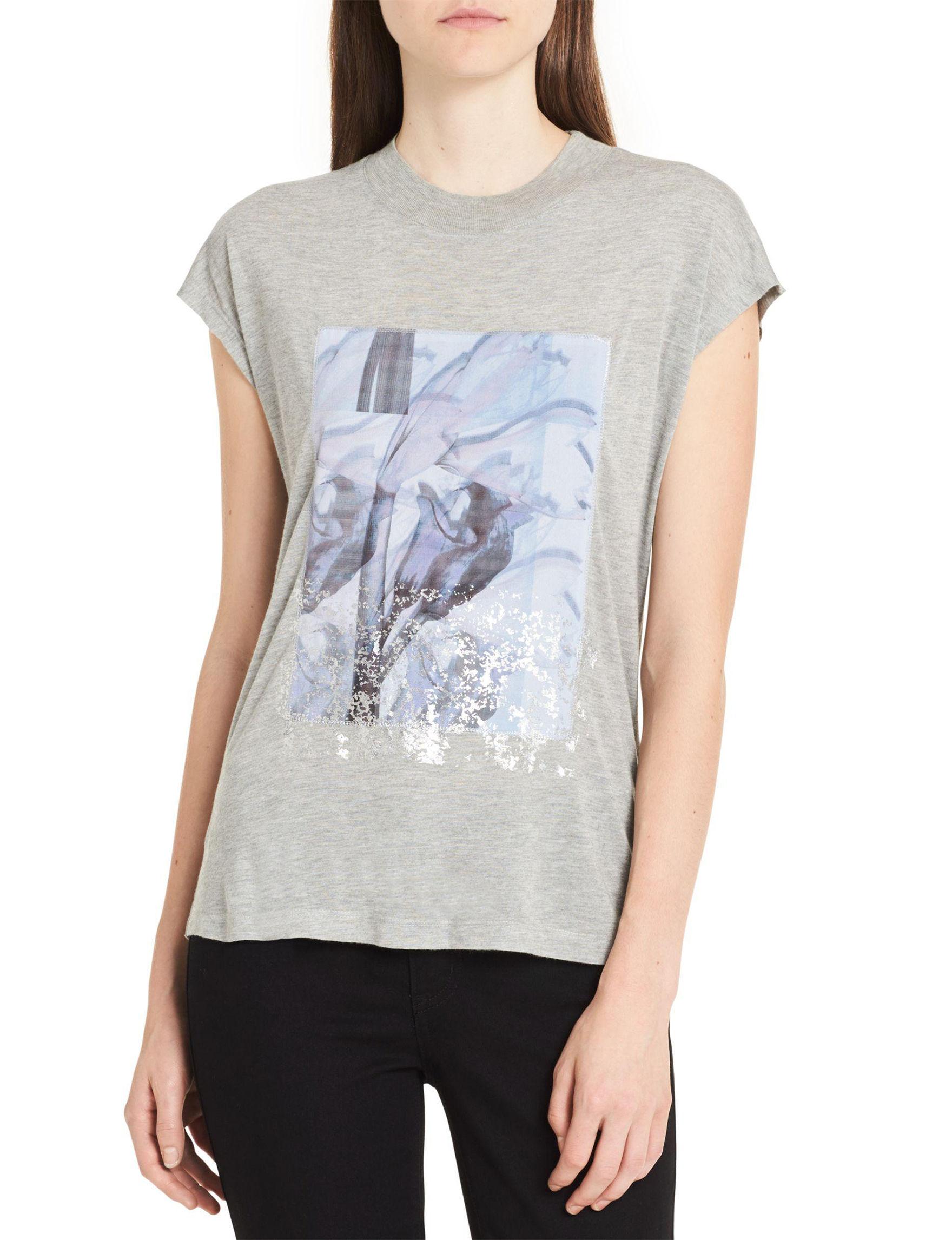 Calvin Klein Jeans Grey Floral Tees & Tanks