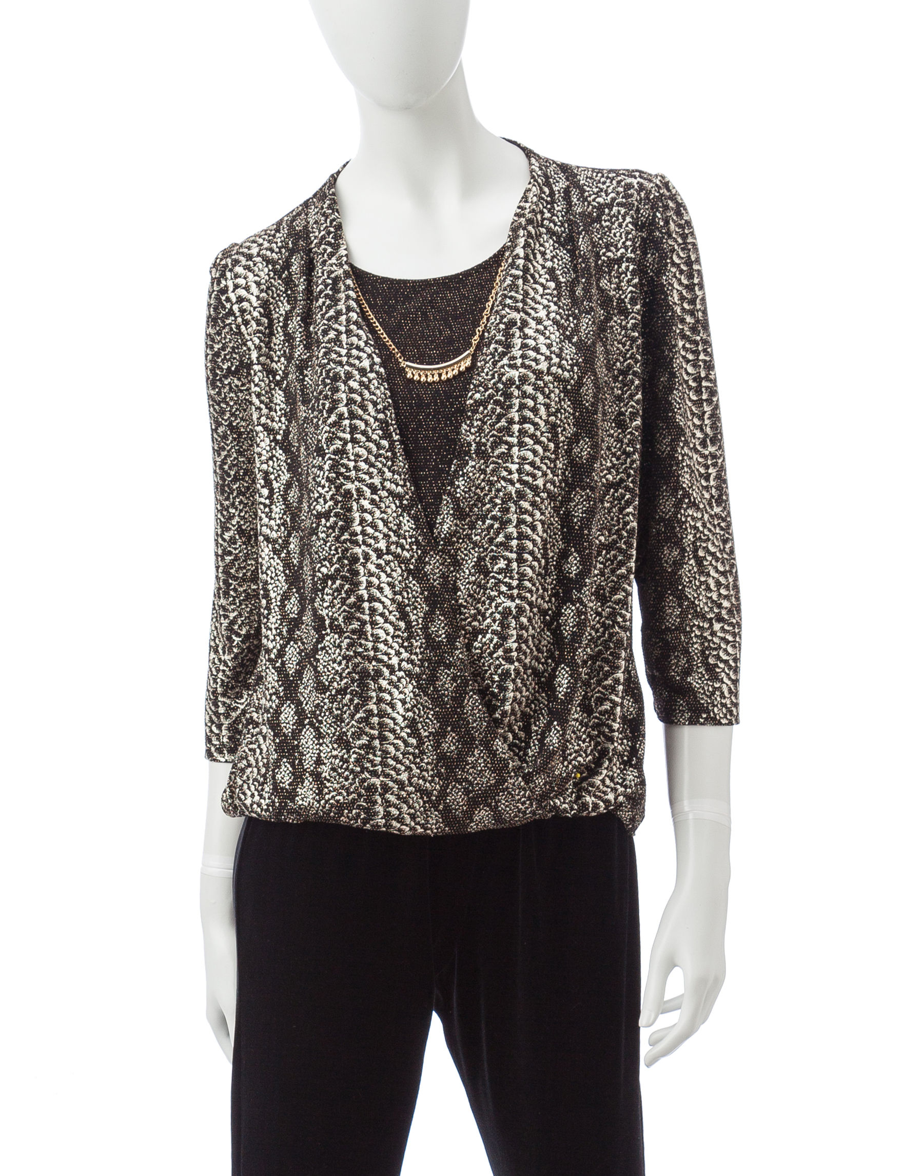 Alfred Dunner Black Multi Shirts & Blouses