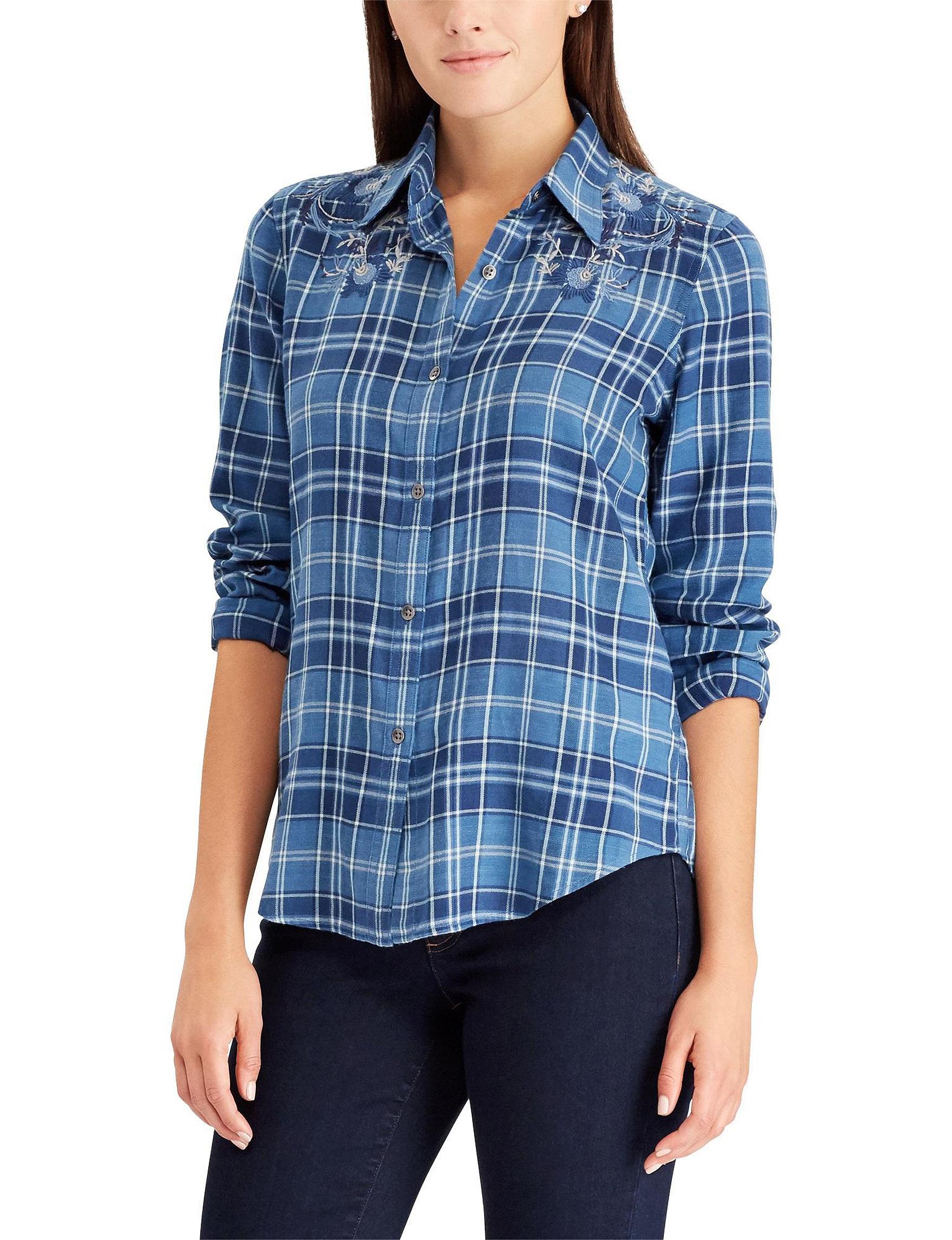 Chaps Blue Plaid Shirts & Blouses