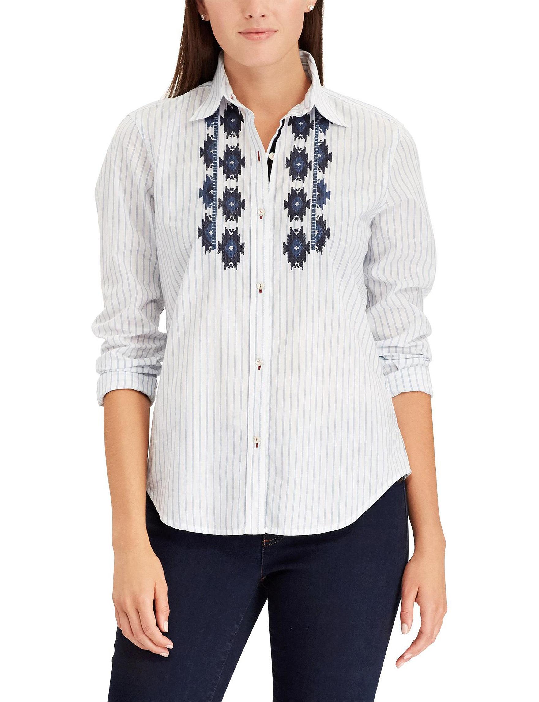 Chaps White Stripe Shirts & Blouses