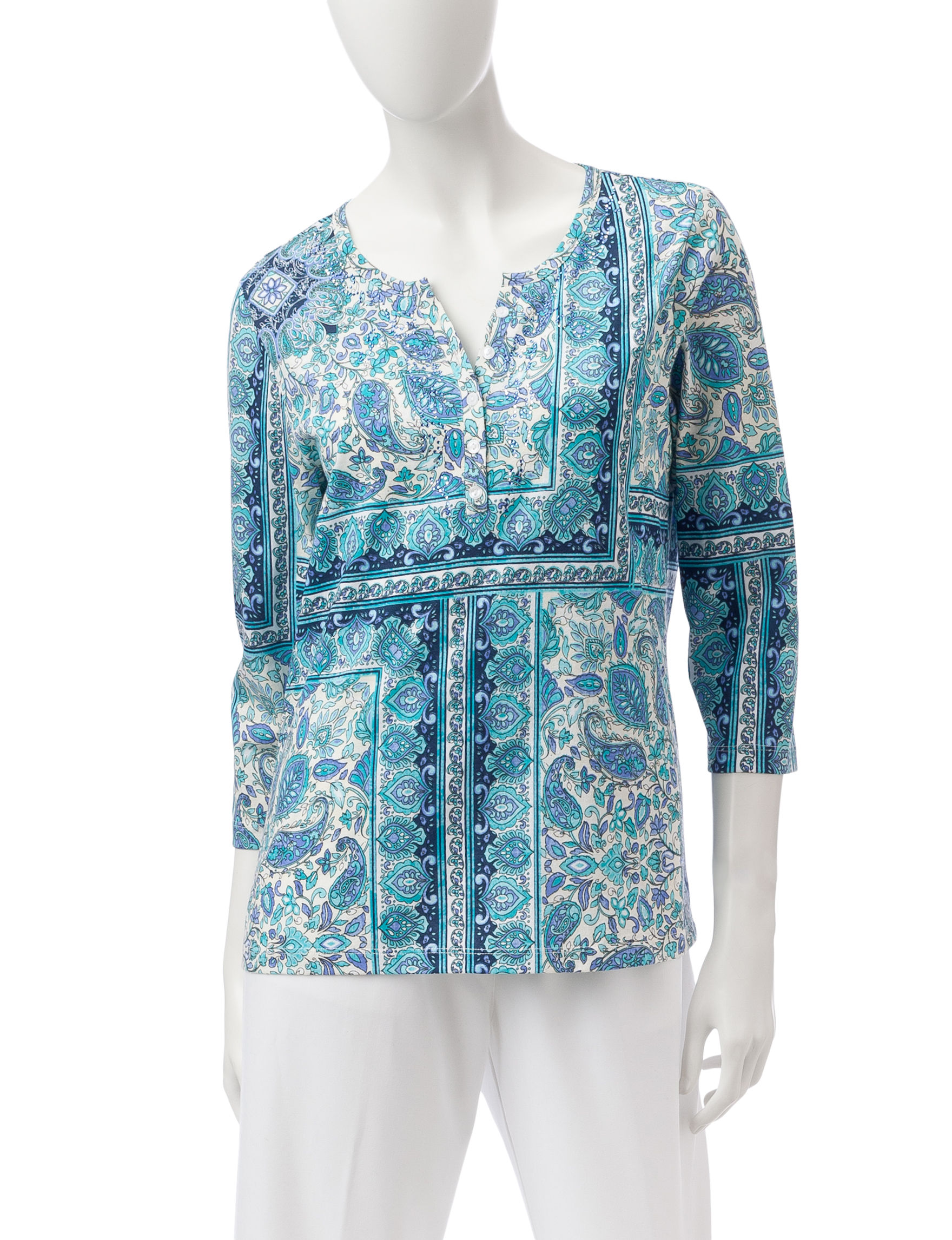 Rebecca Malone Blue / White Shirts & Blouses