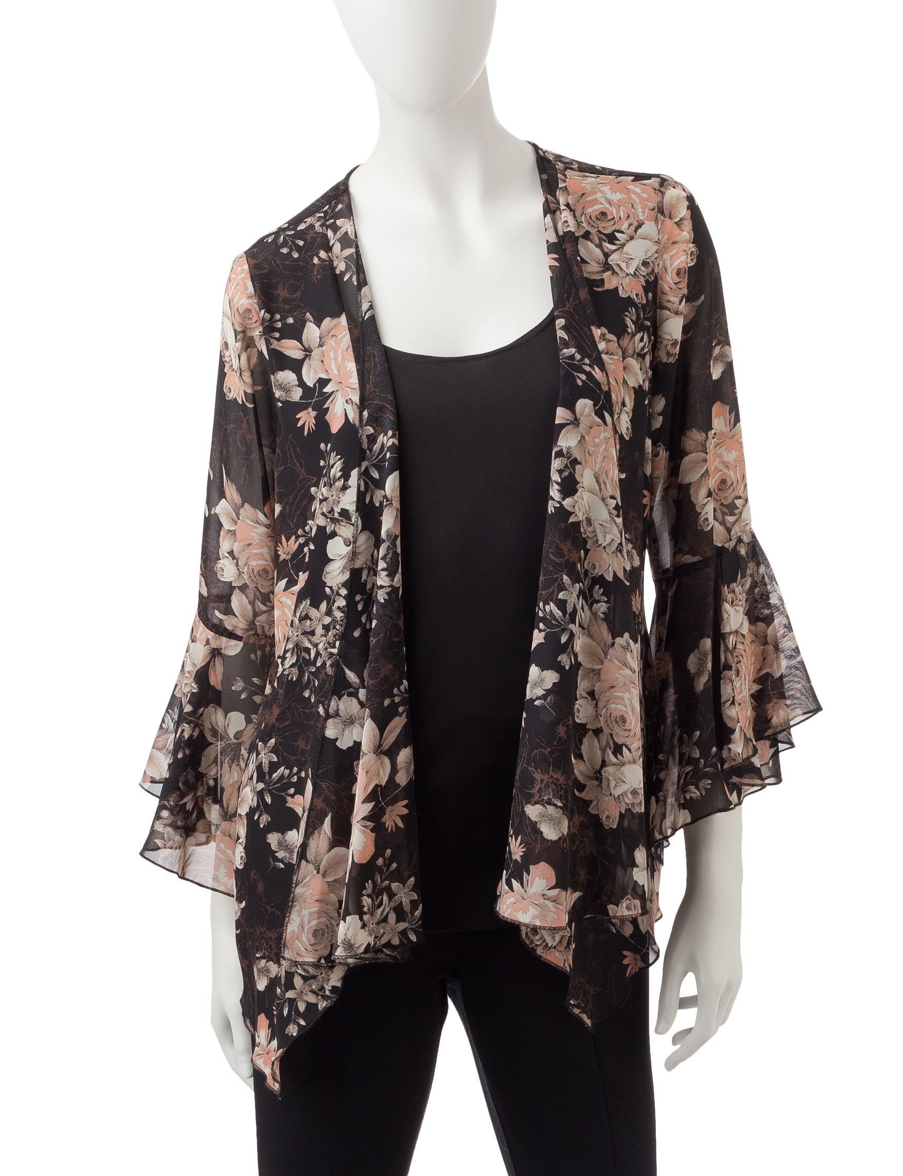 Sara Michelle Black Multi Shirts & Blouses